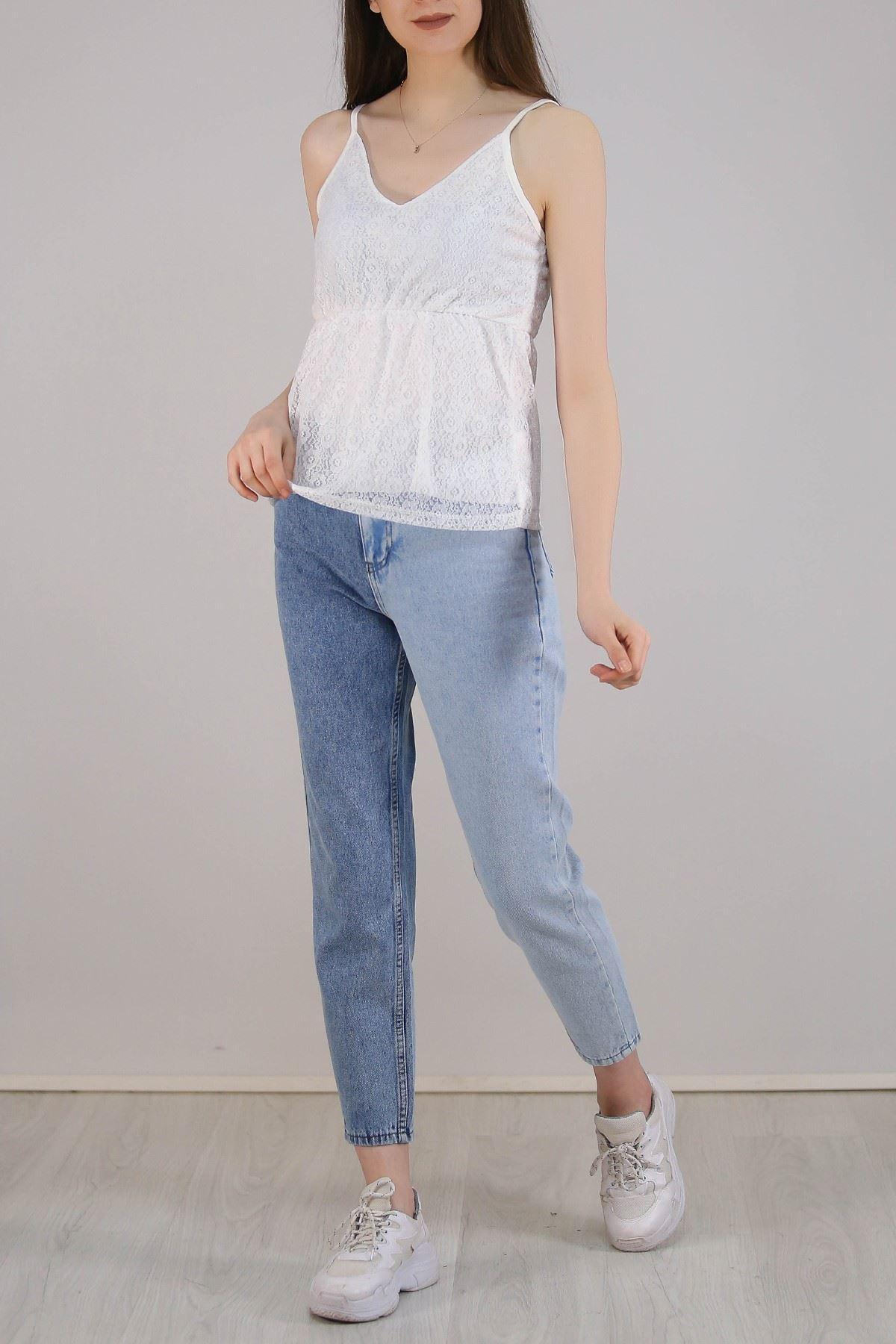 Dantelli Astarlı Bluz Beyaz - 5305.224.