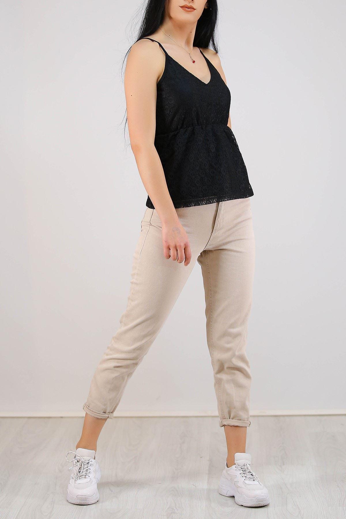 Dantelli Astarlı Bluz Siyah - 5305.224.