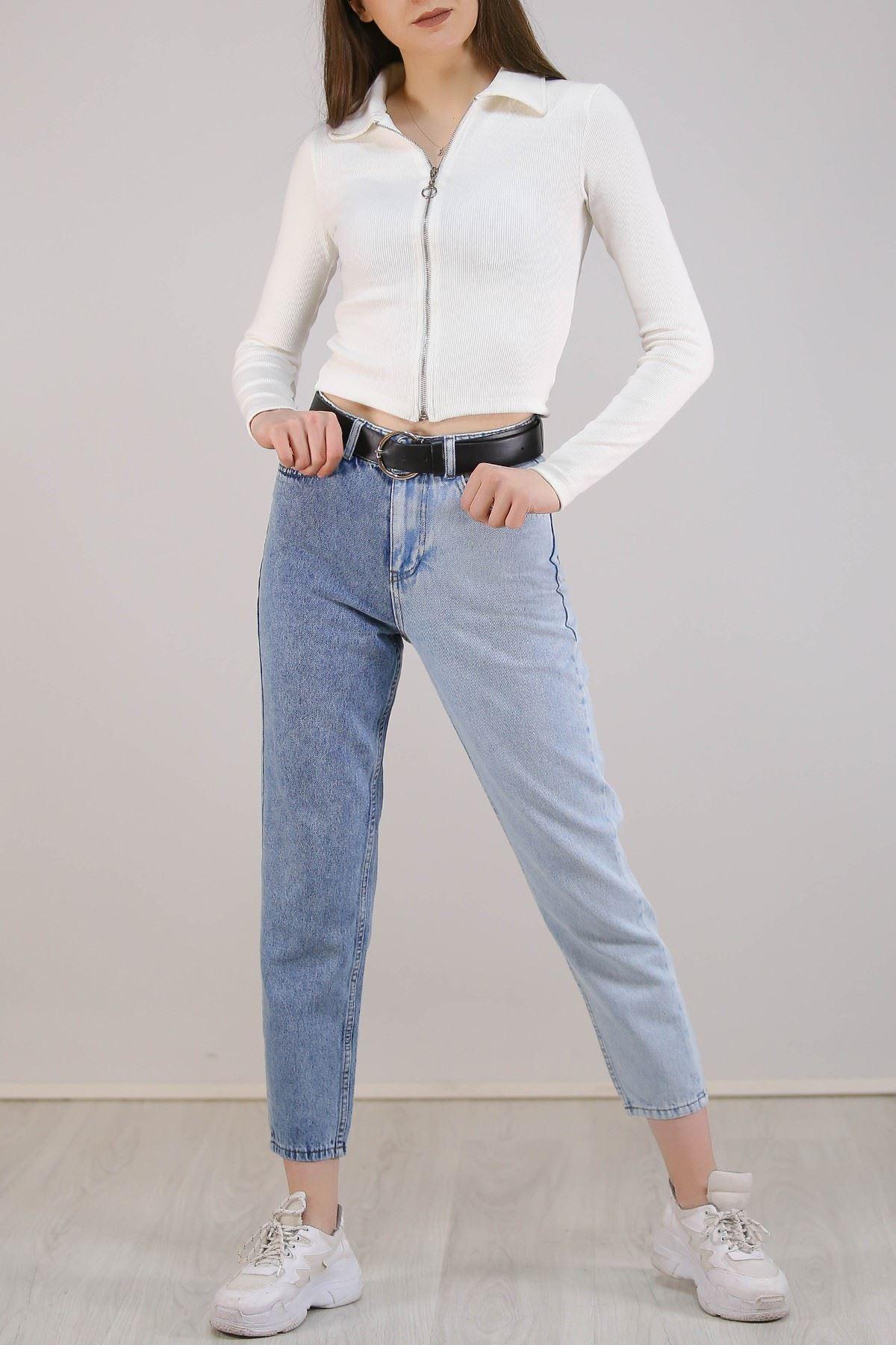 İki Renk Kadın Mom Jeans Kot - 5289.392.