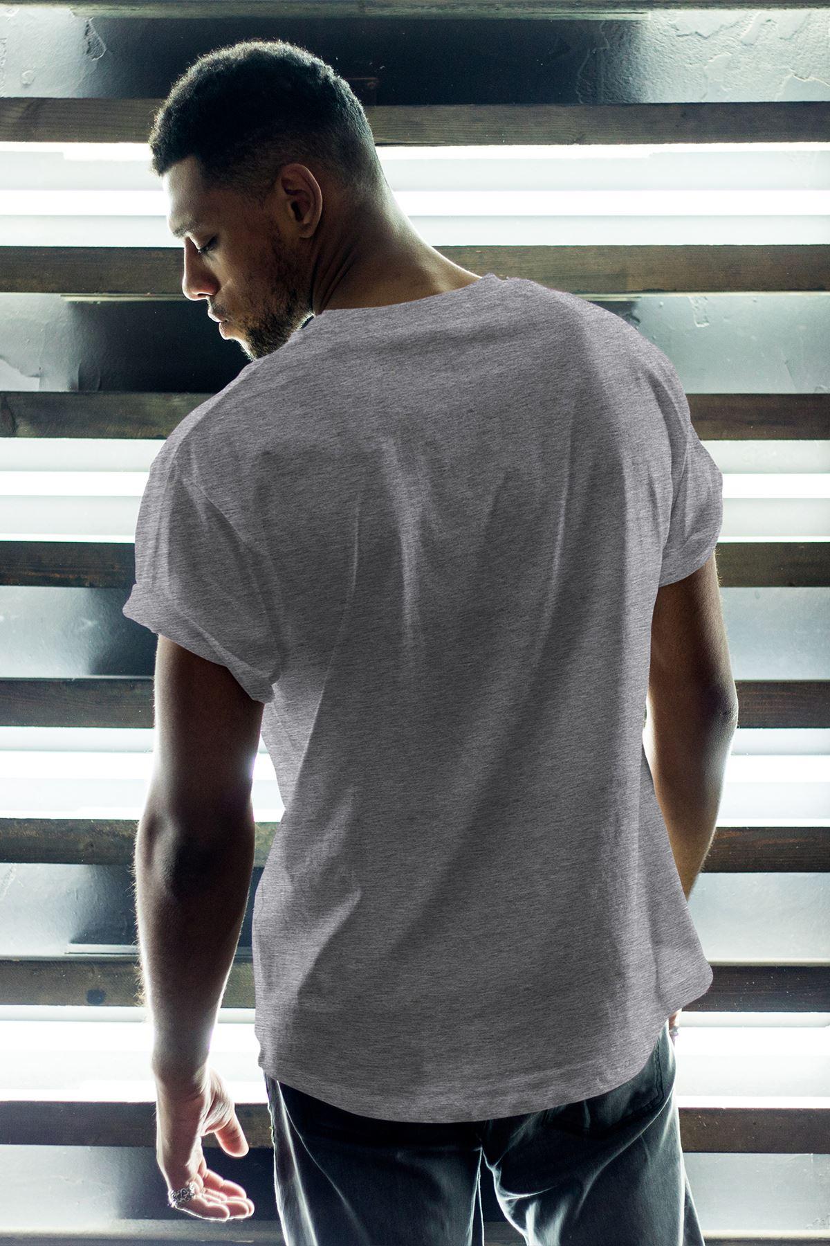 1907-2 FB Gri Erkek Oversize Tshirt - Tişört