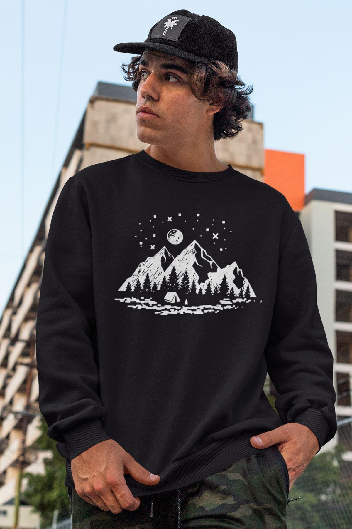 Camping Siyah Erkek Sweatshirt