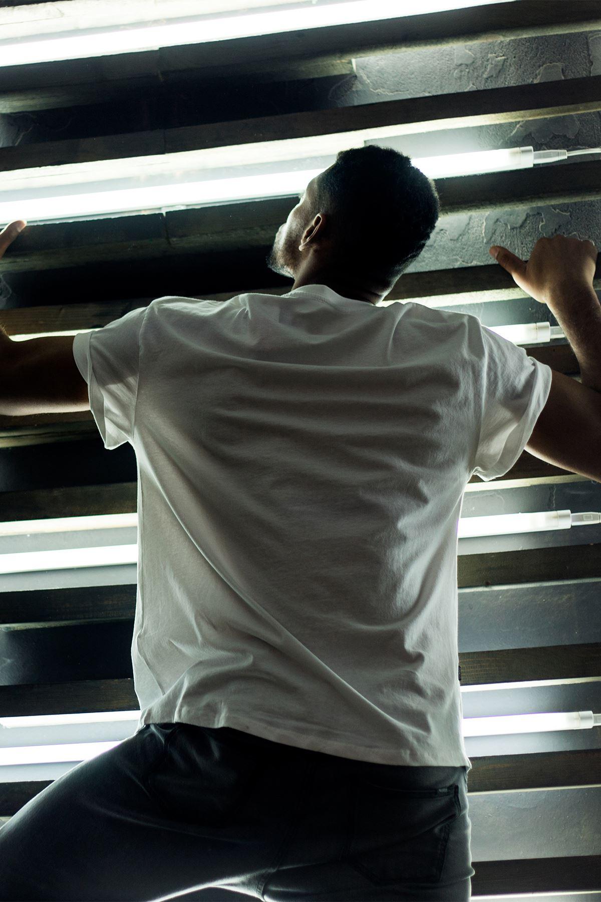 Flight Beyaz Erkek Oversize Tshirt - Tişört
