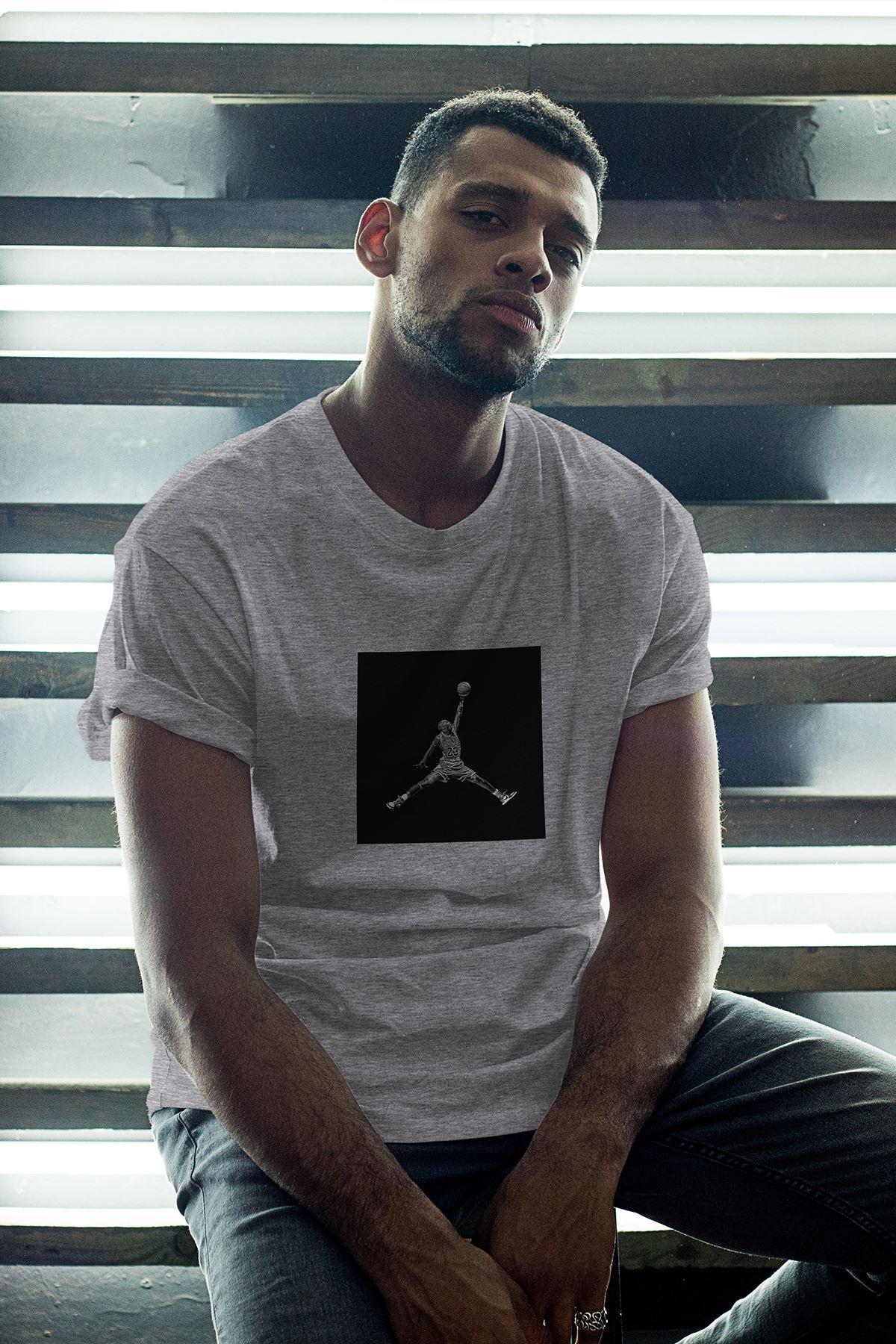 JumpMan Black Fon Gri Erkek Oversize Tshirt - Tişört