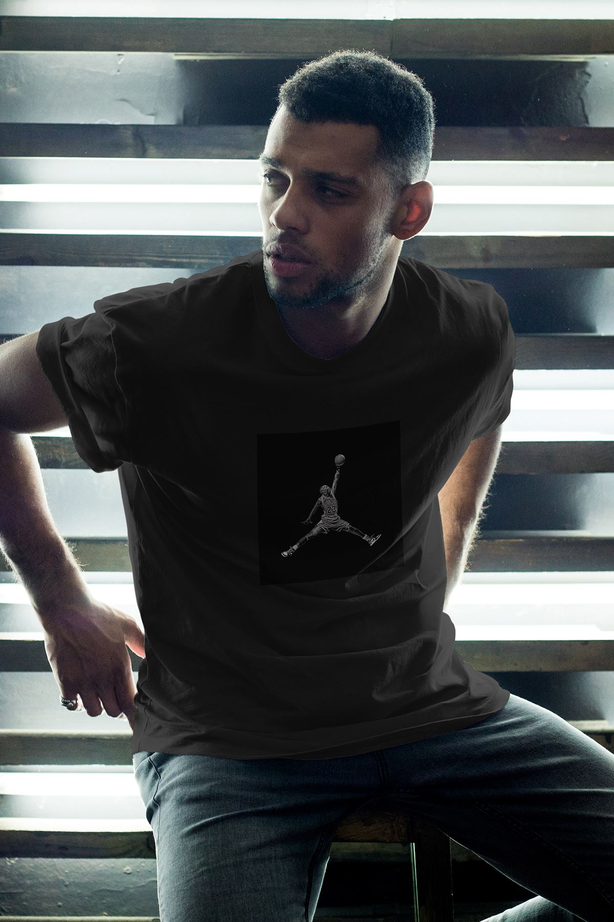 JumpMan Black Fon Siyah Erkek Oversize Tshirt - Tişört