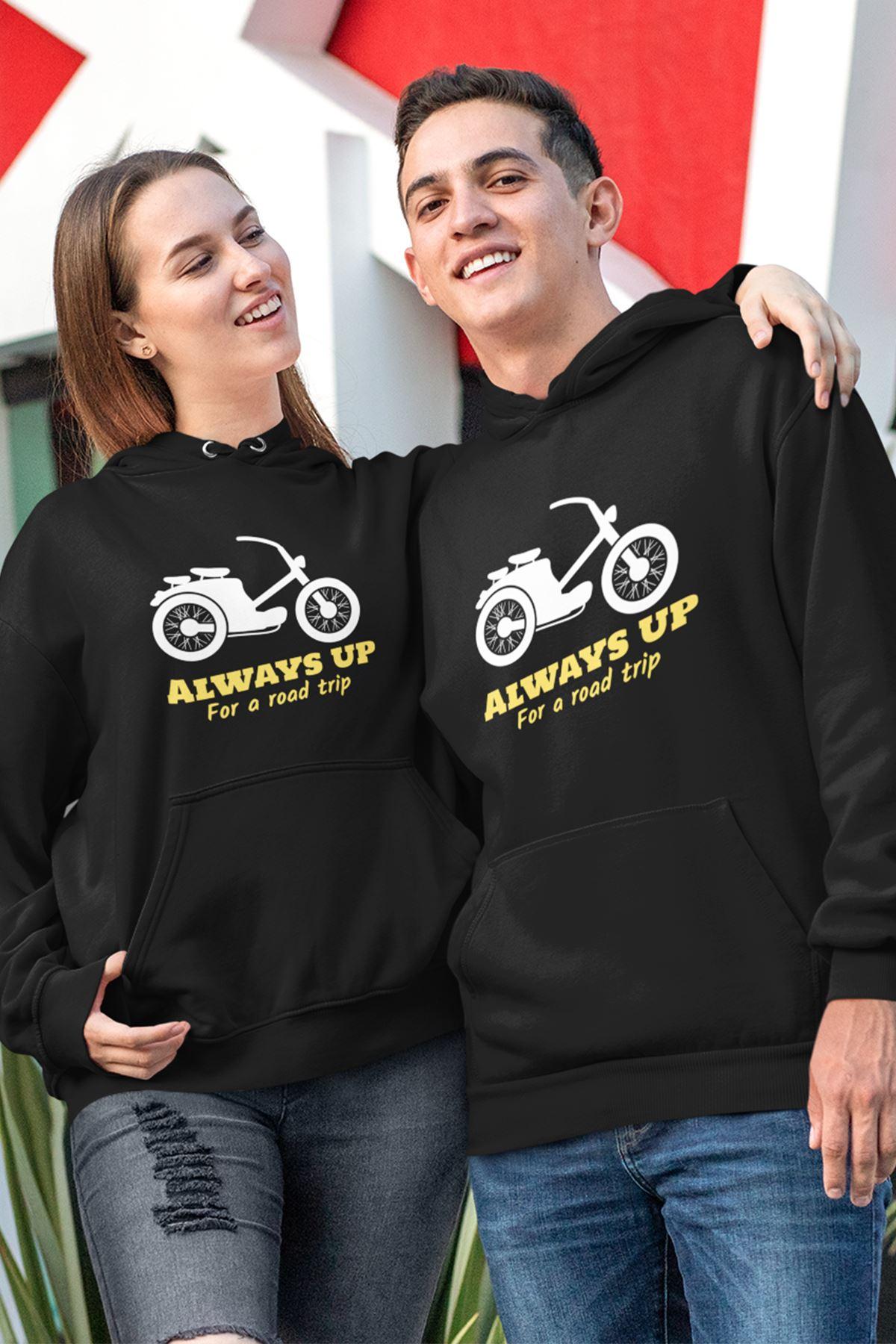 Sevgili Kombini Motorsiklet Siyah Kapşonlu Sweatshirt - Tek Ürün Fiyatıdır.
