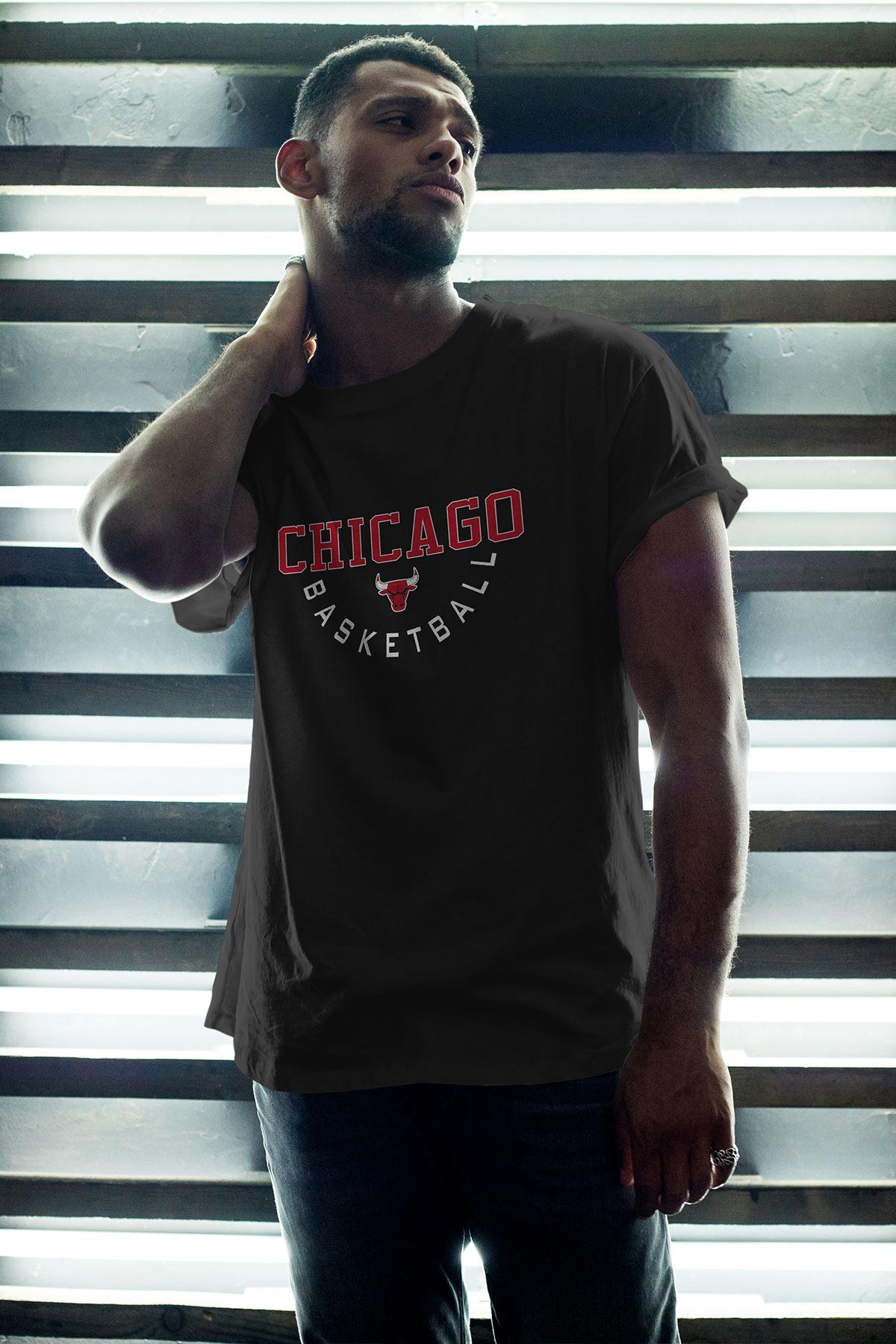 Chicago Bulls 36 Siyah Erkek Oversize Tshirt - Tişört