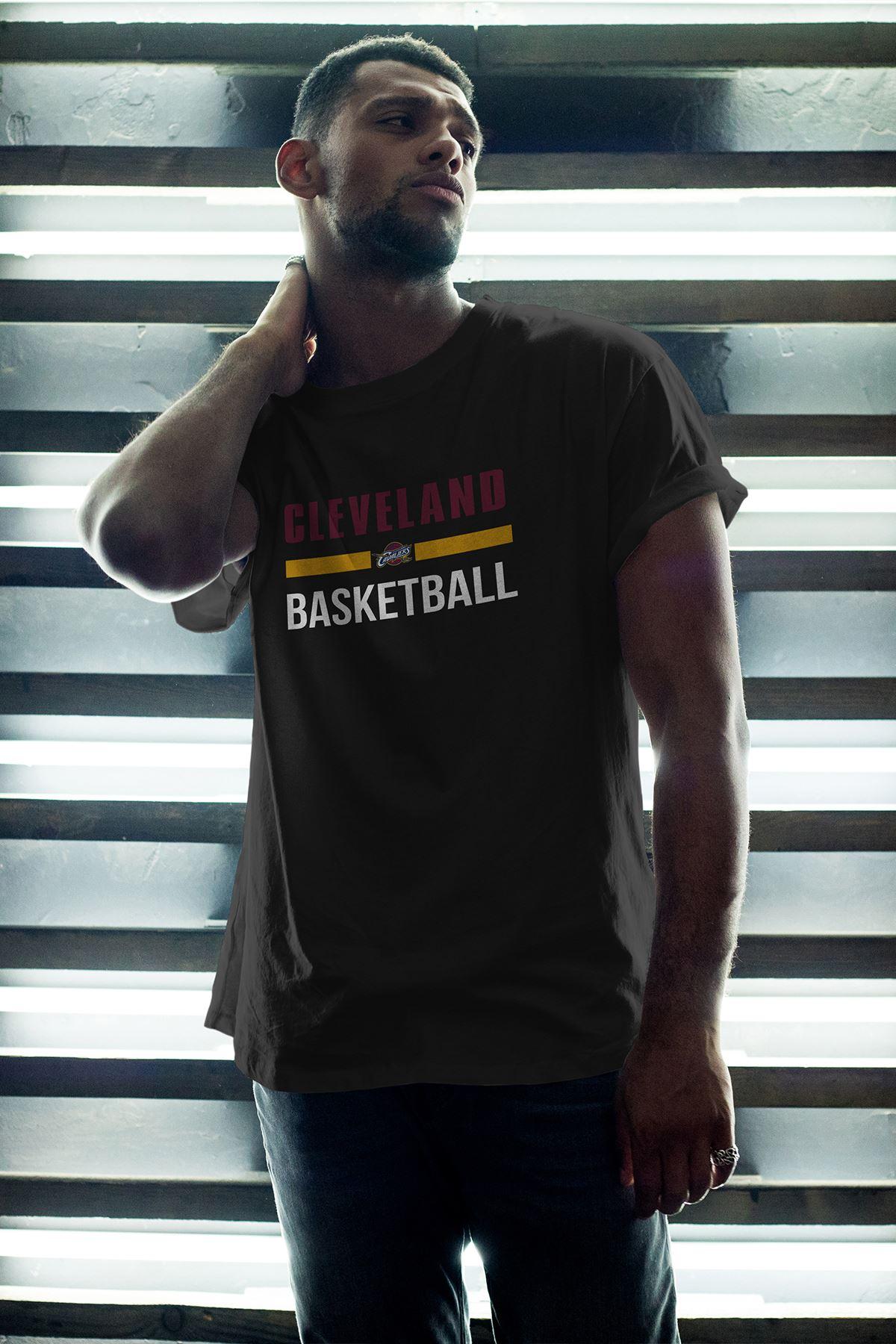 Cleveland 05 Siyah Erkek Oversize Tshirt - Tişört
