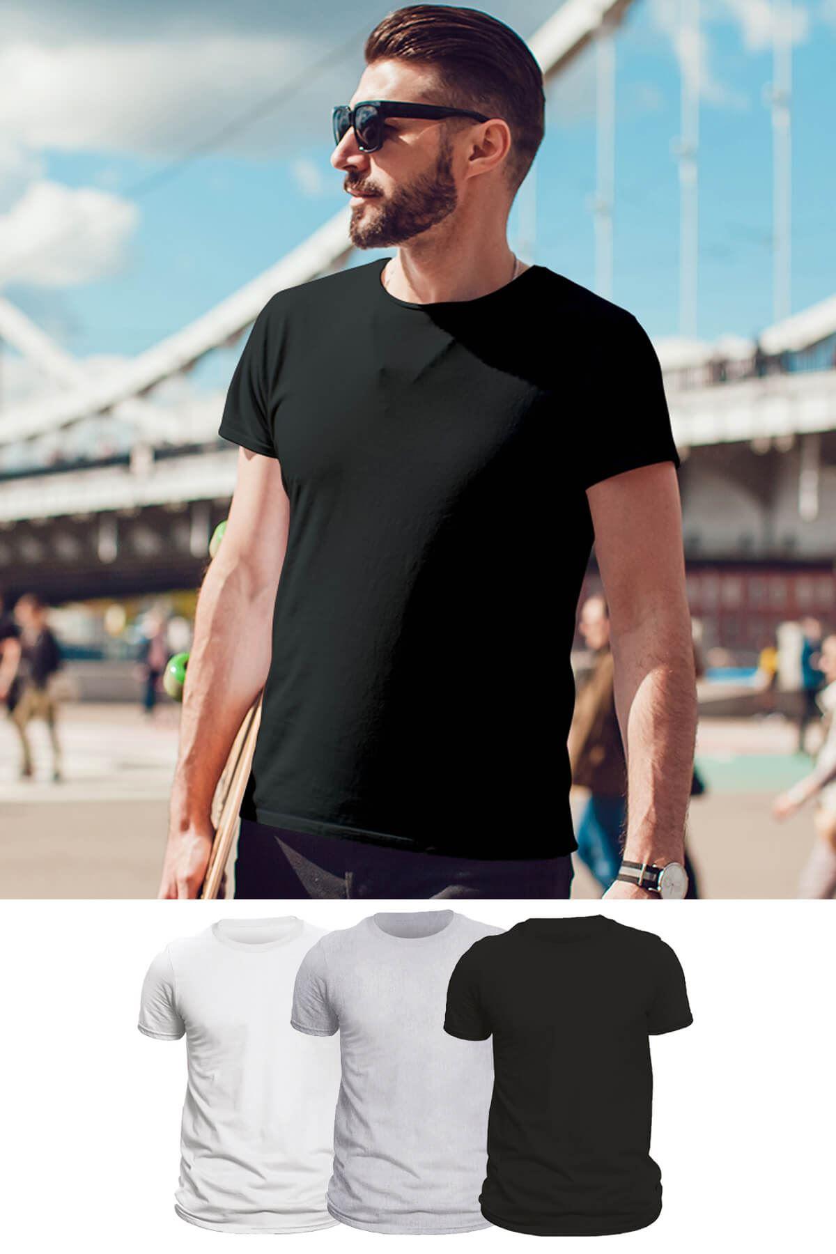 Tonny Mood Beyaz- Siyah-Gri melanj 3'lü Set Basic Erkek Tshirt - Tişört