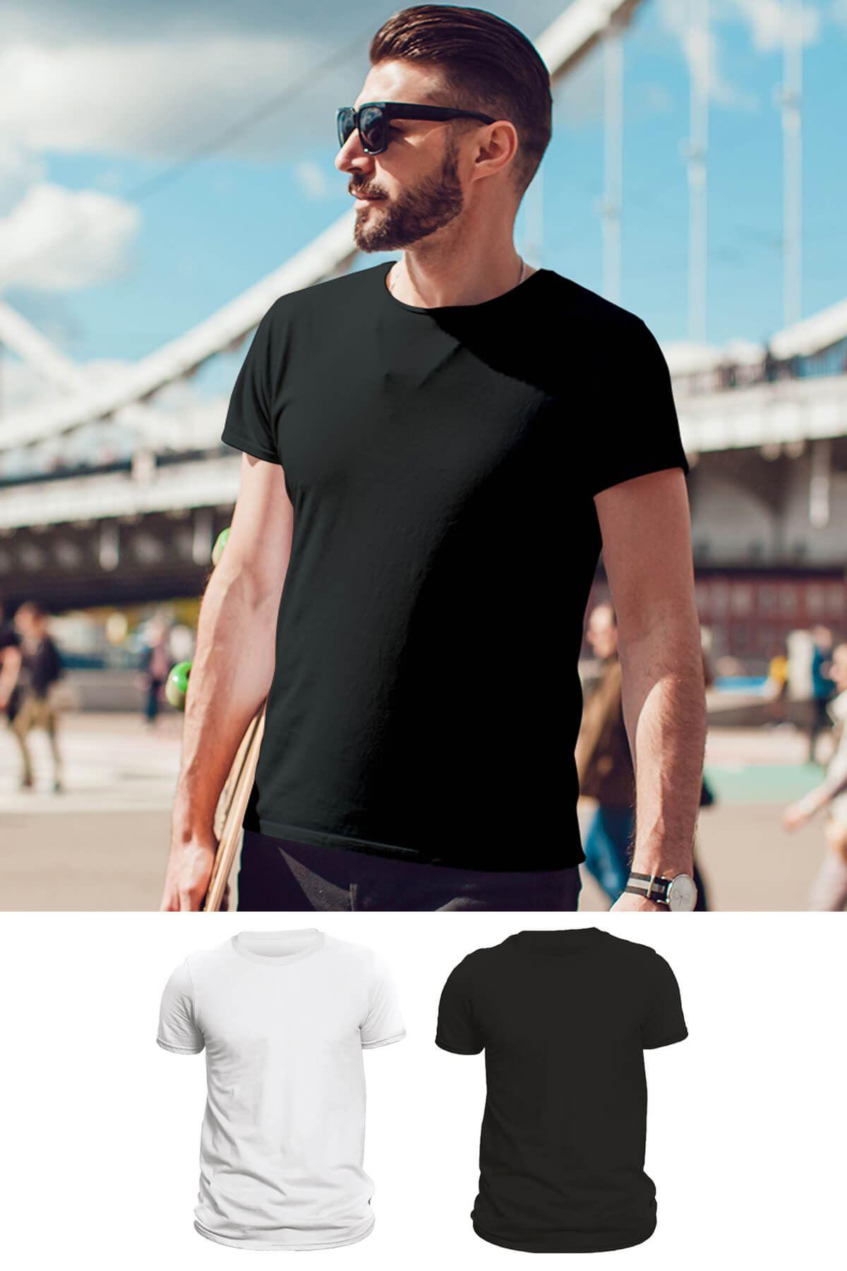 Tonny Mood Siyah - Beyaz 2'li Set Basic Erkek Tshirt - Tişört
