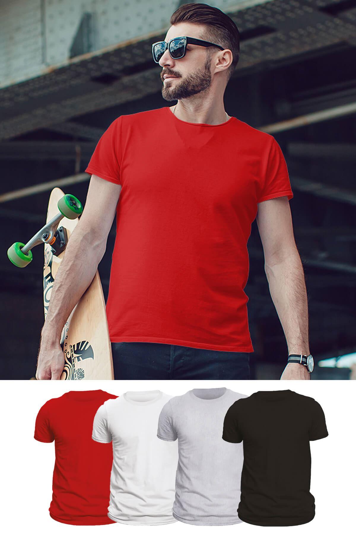Tonny Mood  Kırmızı - Siyah - Beyaz- Gri Melanj 4'lü Set Basic Erkek Tshirt - Tişört