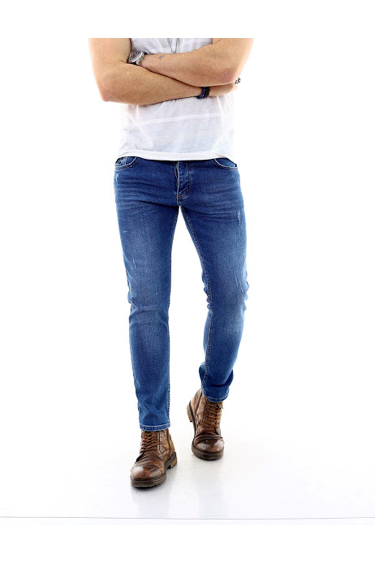 Erkek Mavi Yırtıklı Denim Jeans Kot Ceket + Koyu Mavi Slim Likralı Tırnaklı Denim Jean Pantolon
