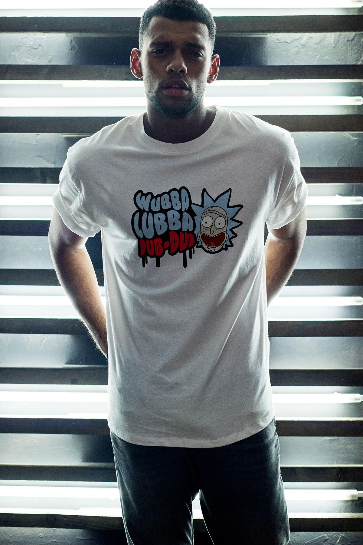 Rick and Morty 155 Beyaz Erkek Oversize Tshirt - Tişört