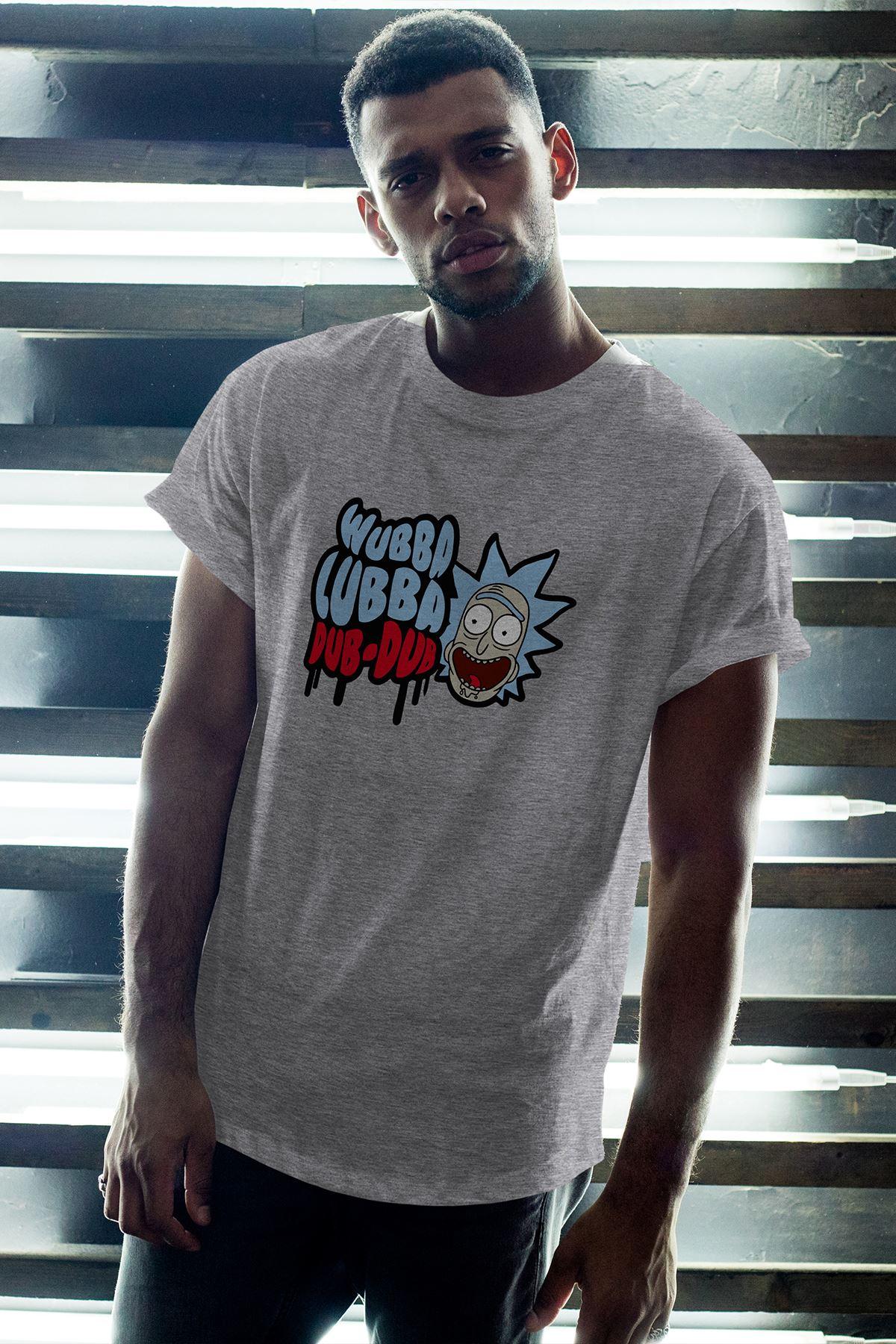Rick and Morty 155 Gri Erkek Oversize Tshirt - Tişört