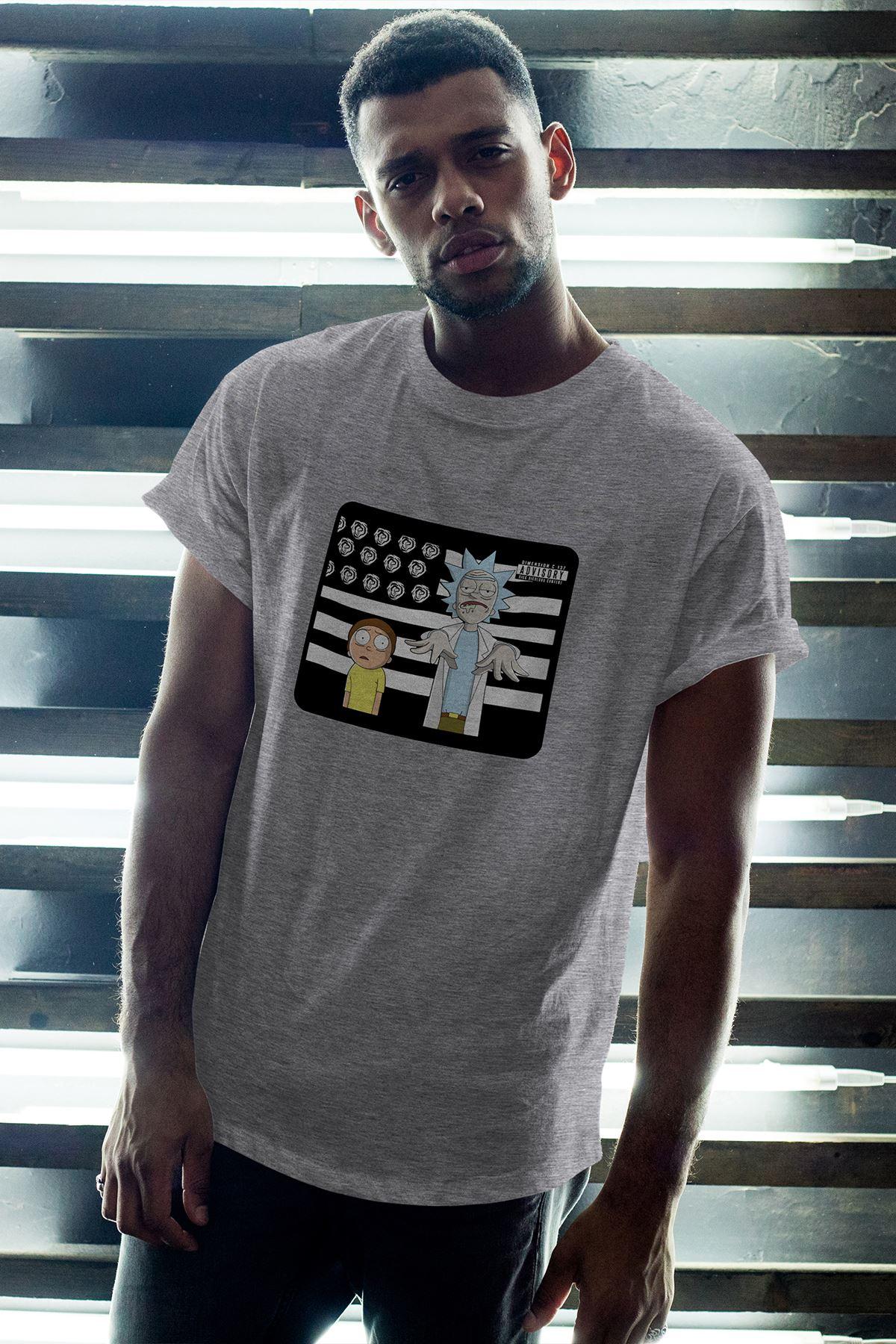 Rick and Morty 146 Gri Erkek Oversize Tshirt - Tişört