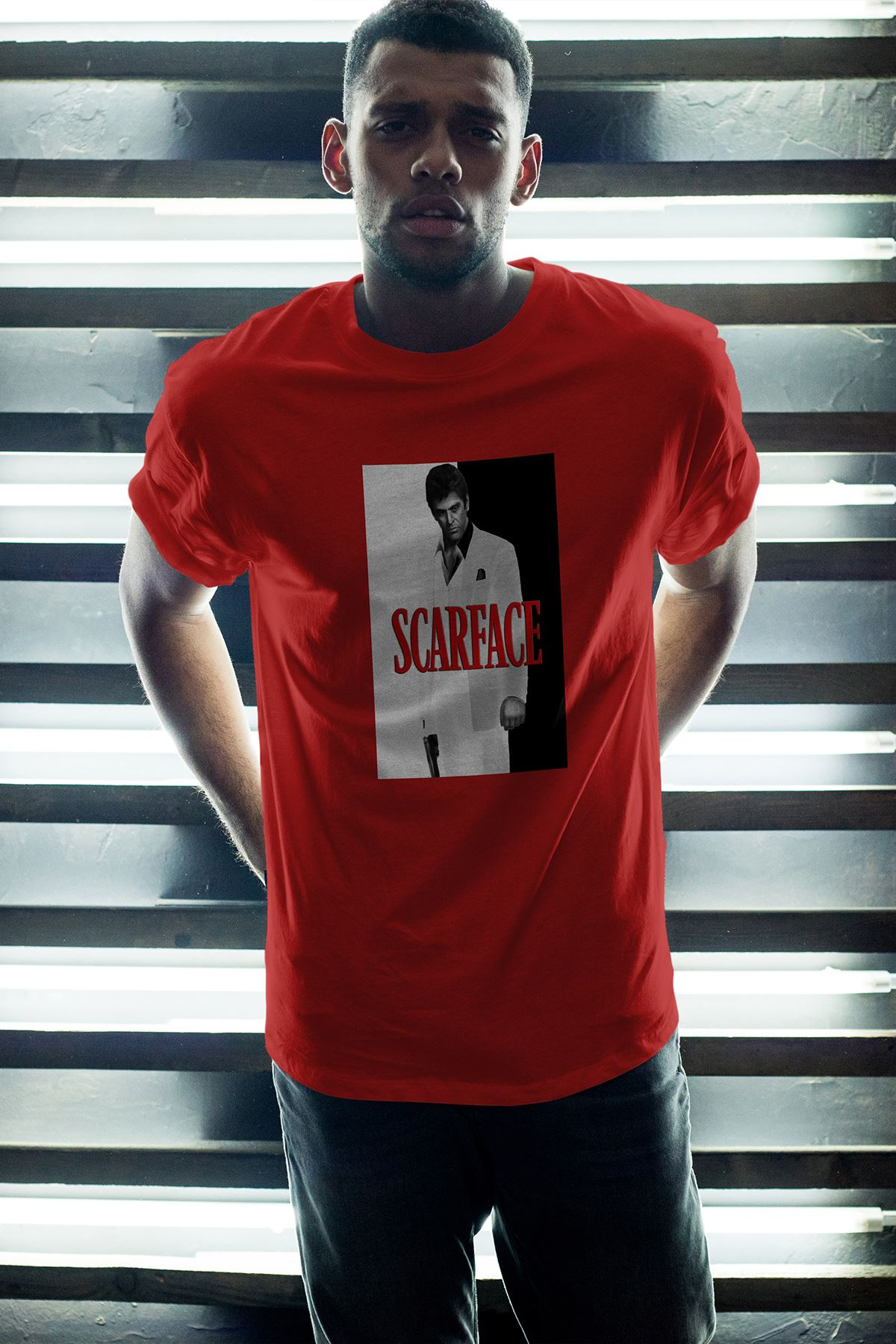 Scarface 151 Kırmızı Erkek Oversize Tshirt - Tişört