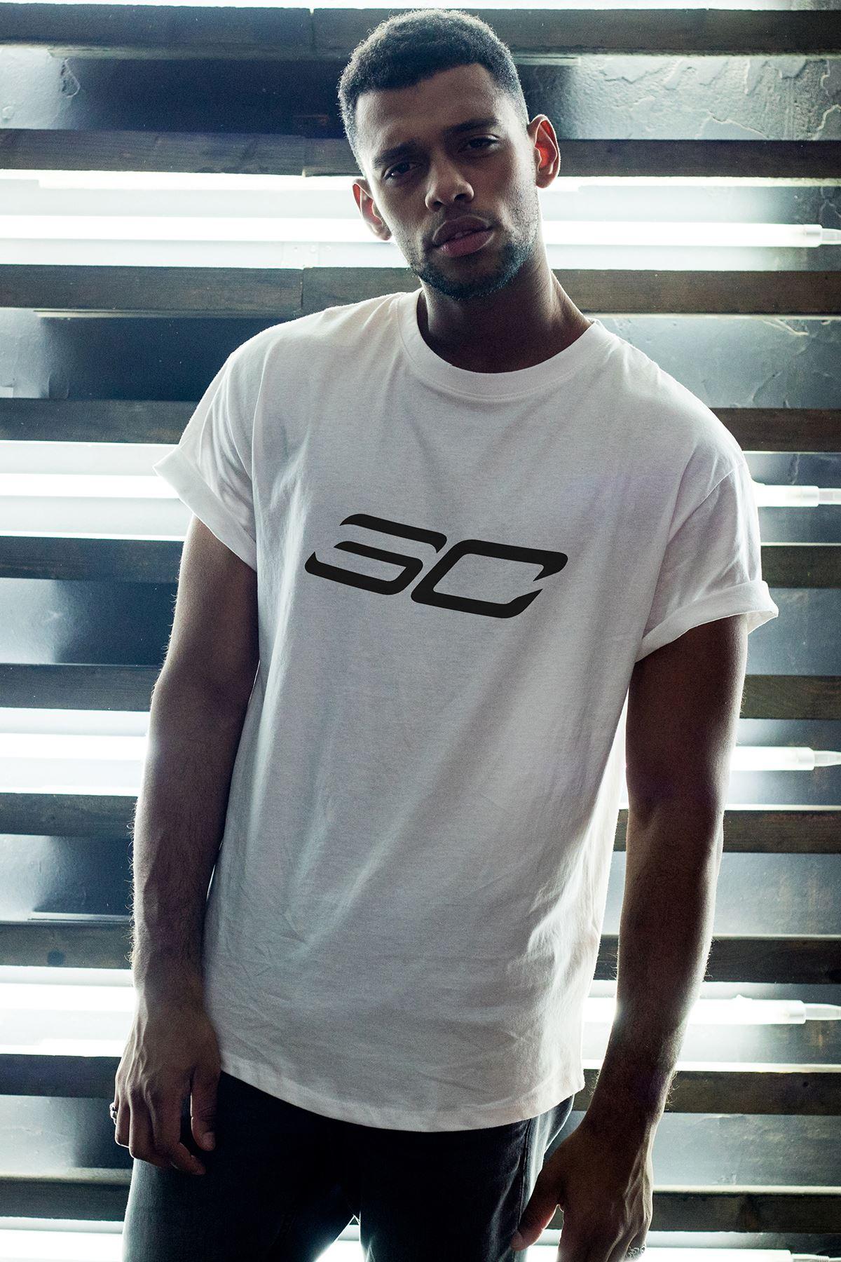 Stephen Curry 149 Beyaz Erkek Oversize Tshirt - Tişört