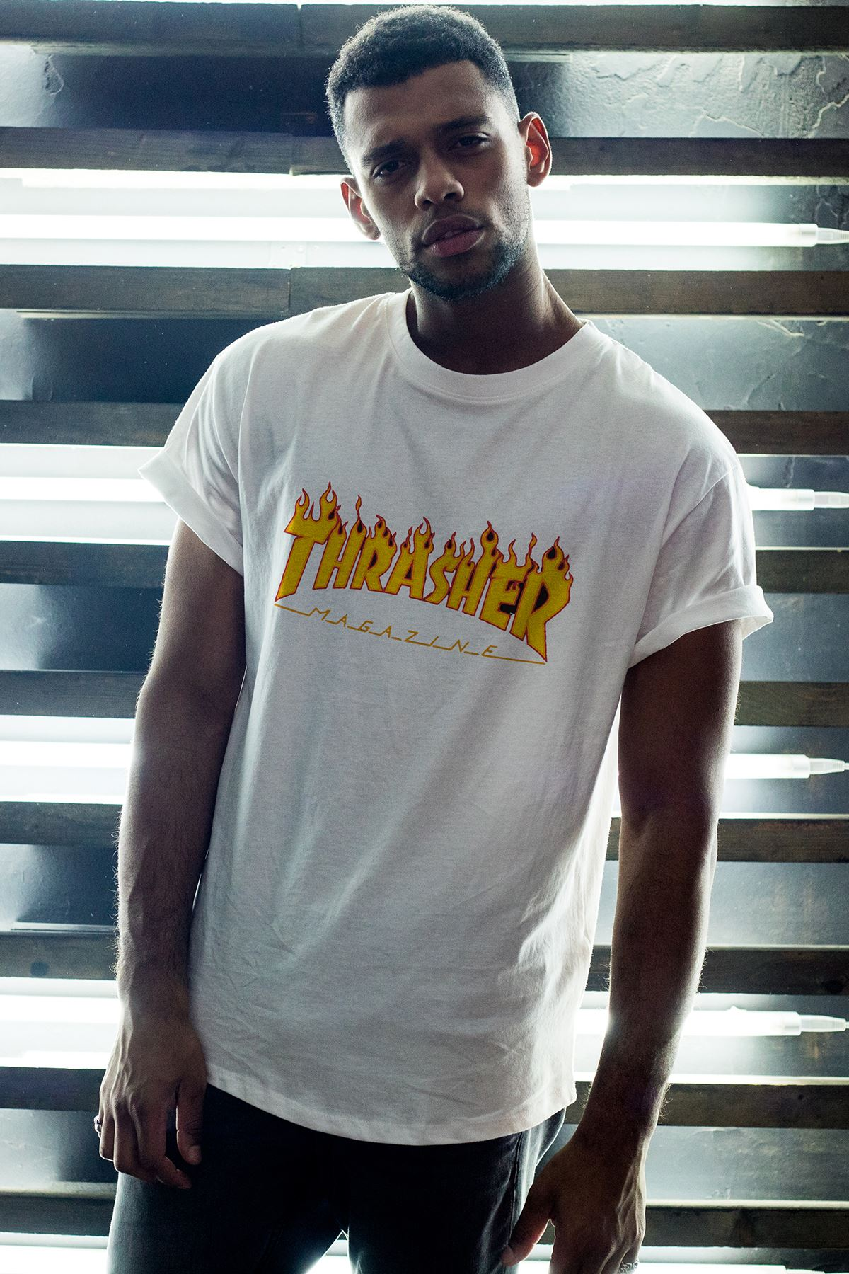 Thrasher 163 Beyaz Erkek Oversize Tshirt - Tişört