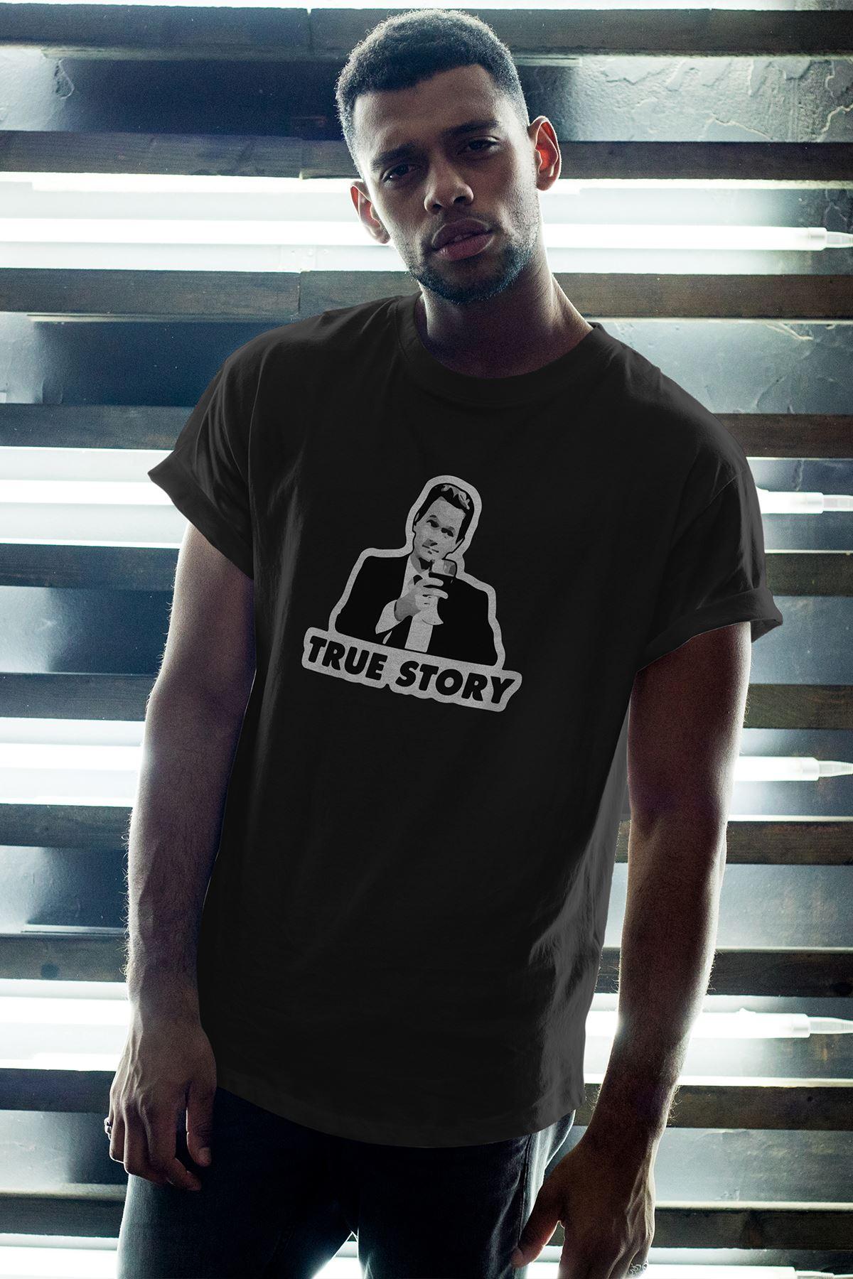 True Story Siyah Erkek Oversize Tshirt - Tişört