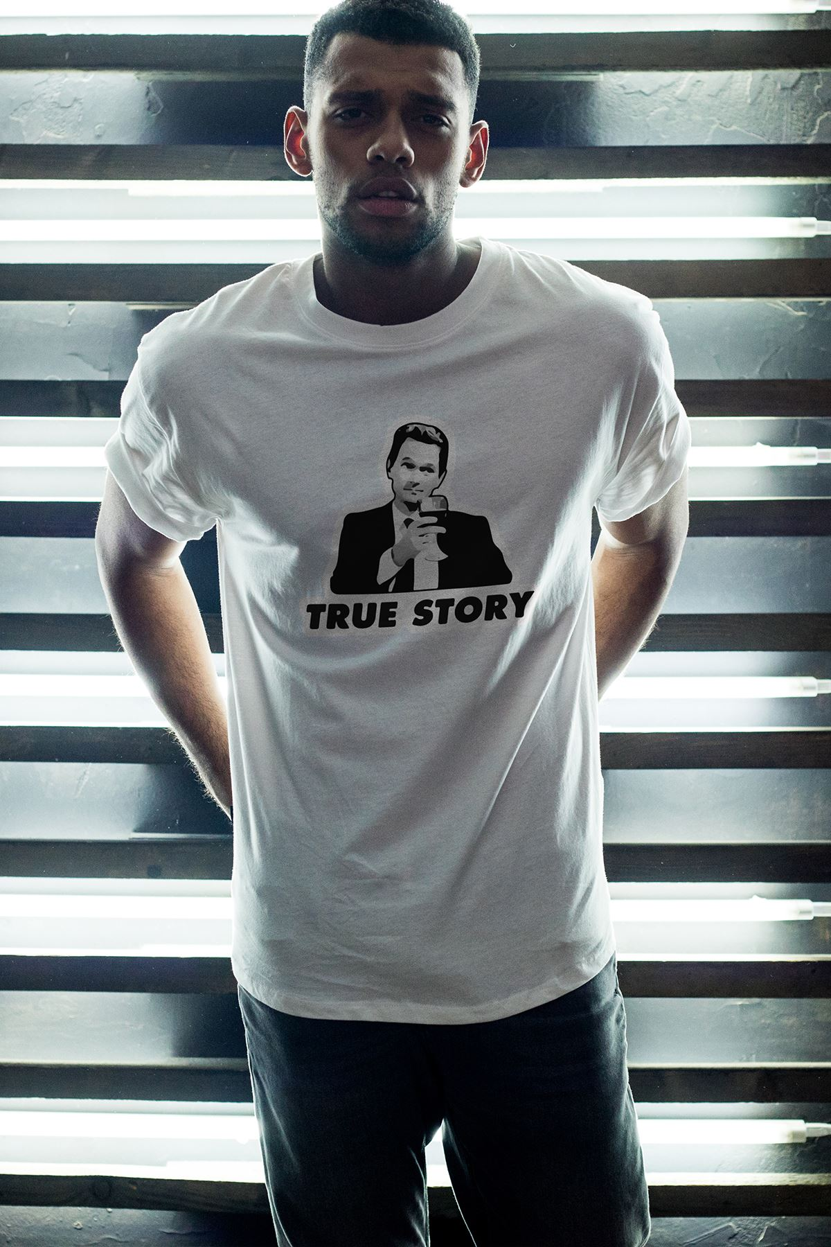 True Story Beyaz Erkek Oversize Tshirt - Tişört