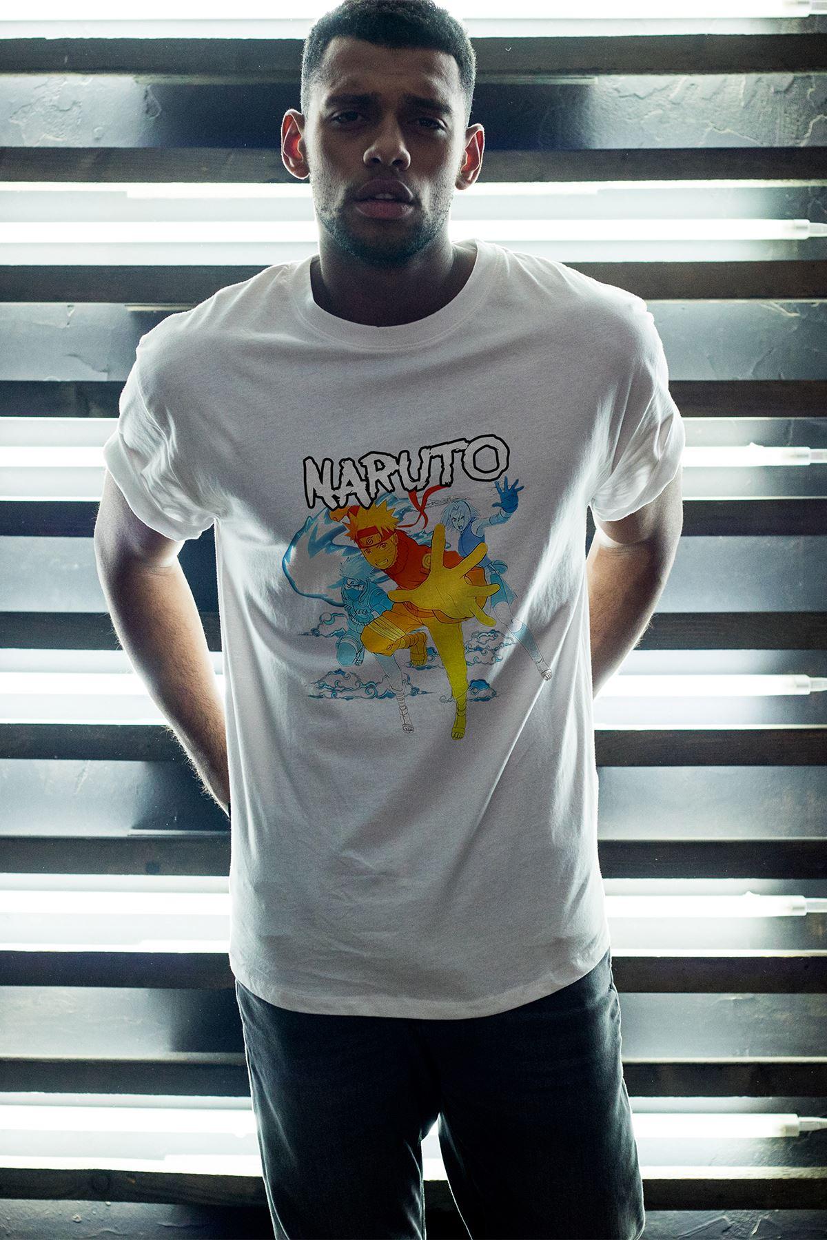 Naruto Anime 03 Beyaz Erkek Oversize Tshirt - Tişört