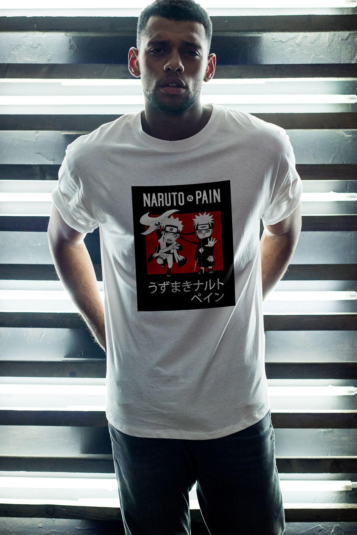 Naruto Anime 04 Beyaz Erkek Oversize Tshirt - Tişört