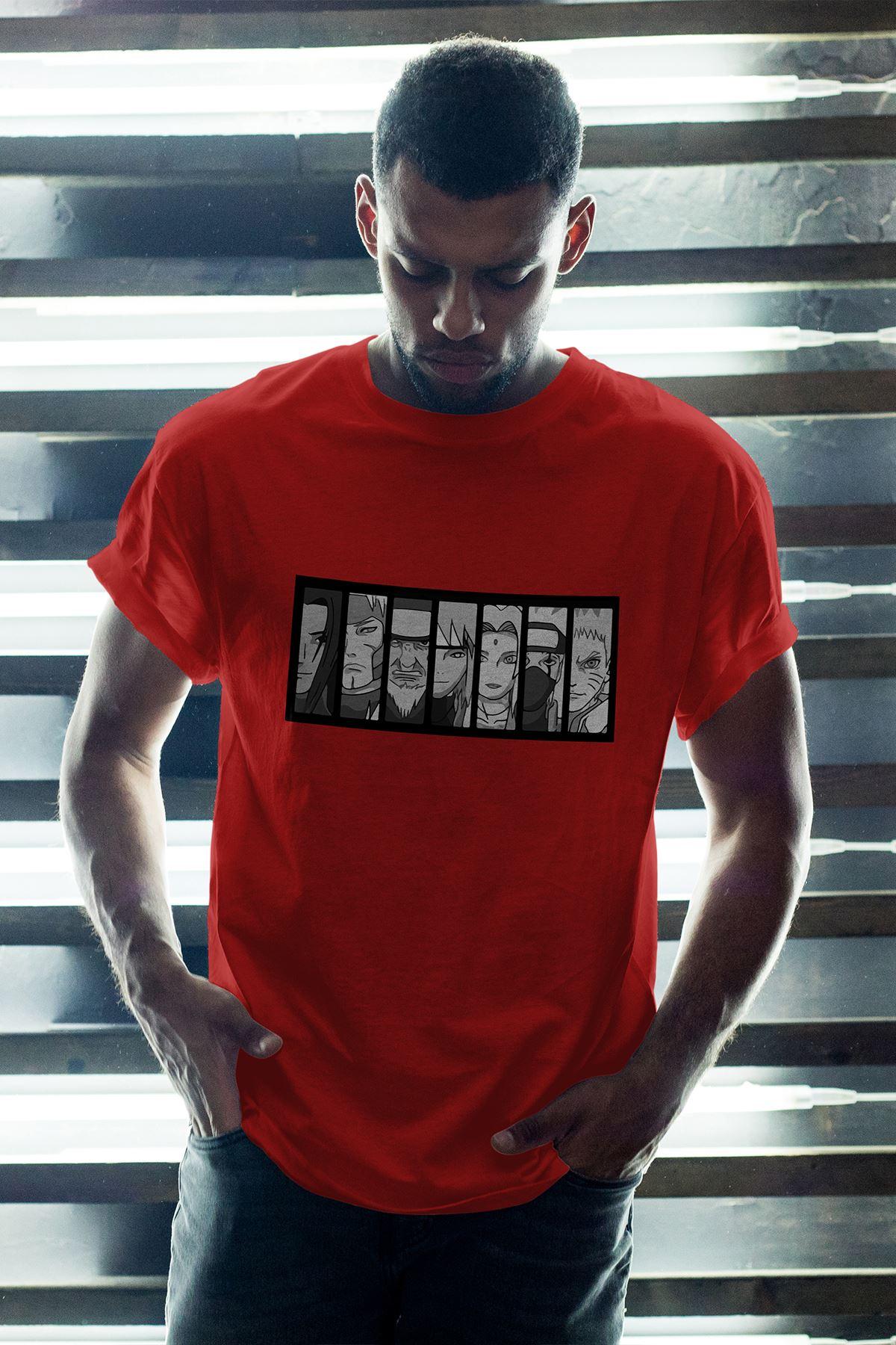 Naruto Anime 01 Kırmızı Erkek Oversize Tshirt - Tişört