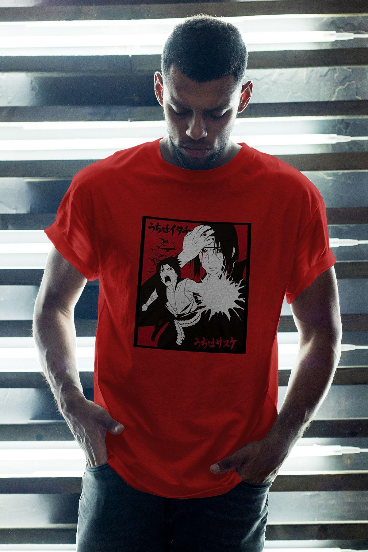 Naruto Anime 05 Kırmızı Erkek Oversize Tshirt - Tişört