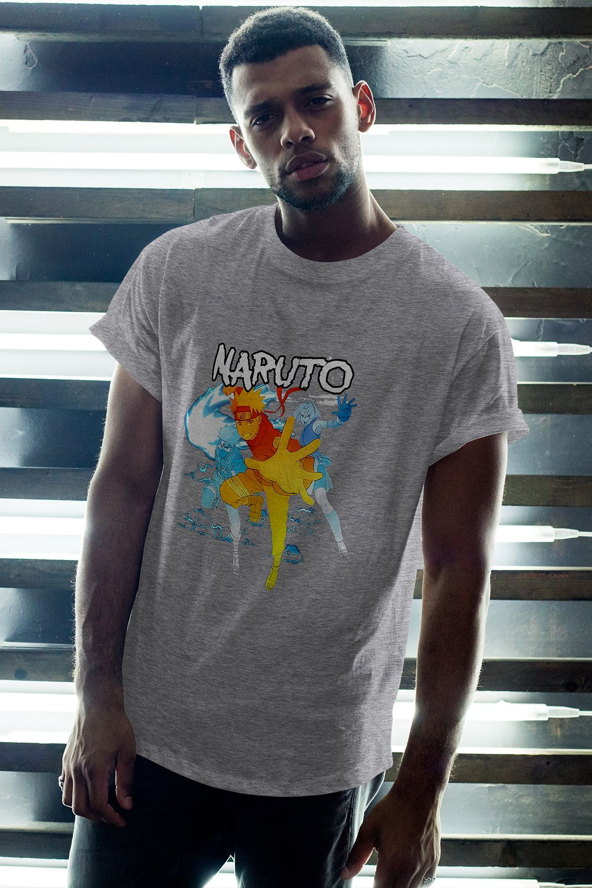Naruto Anime 03 Gri Erkek Oversize Tshirt - Tişört
