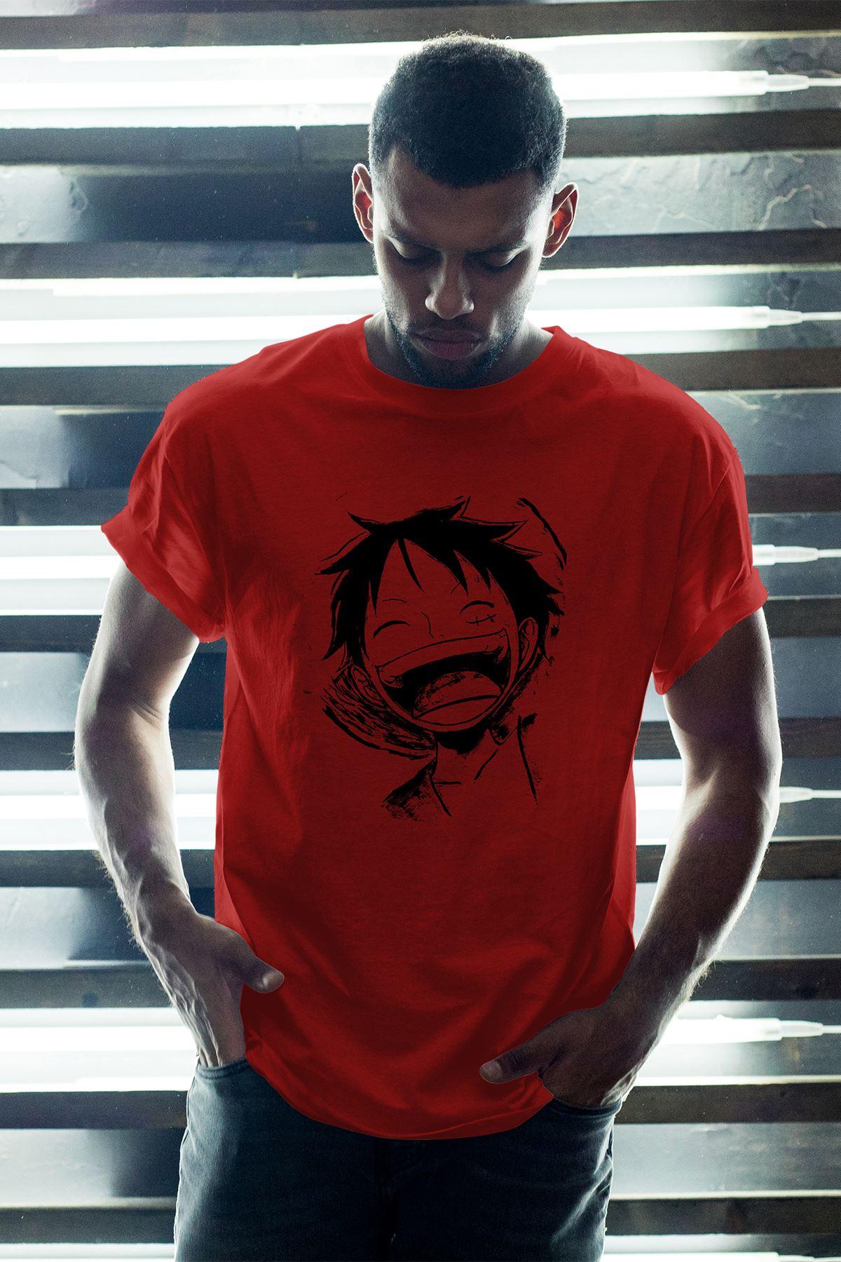 Naruto Anime 14 Kırmızı Erkek Oversize Tshirt - Tişört