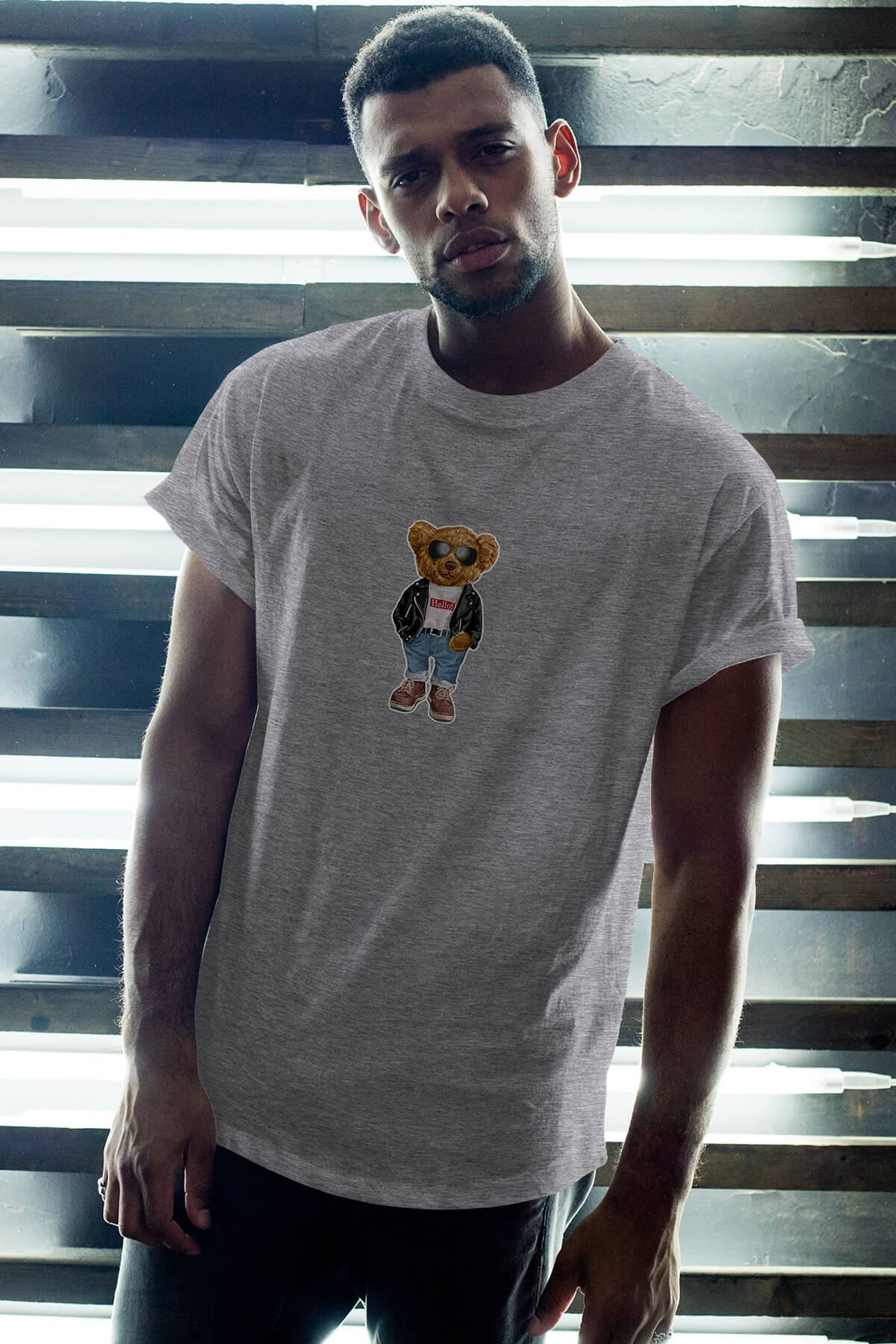 Nice Bear Gri Erkek Oversize Tshirt - Tişört