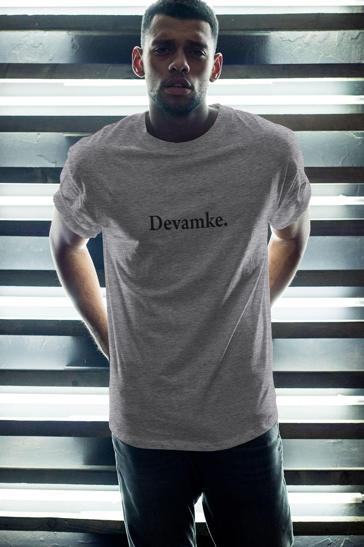 Devamke Gri Erkek Oversize Tshirt - Tişört