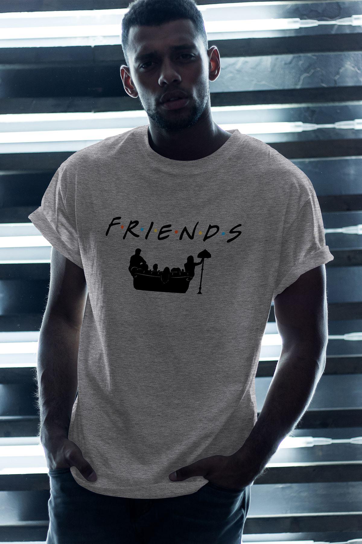 Friends 02 Gri Erkek Oversize Tshirt - Tişört