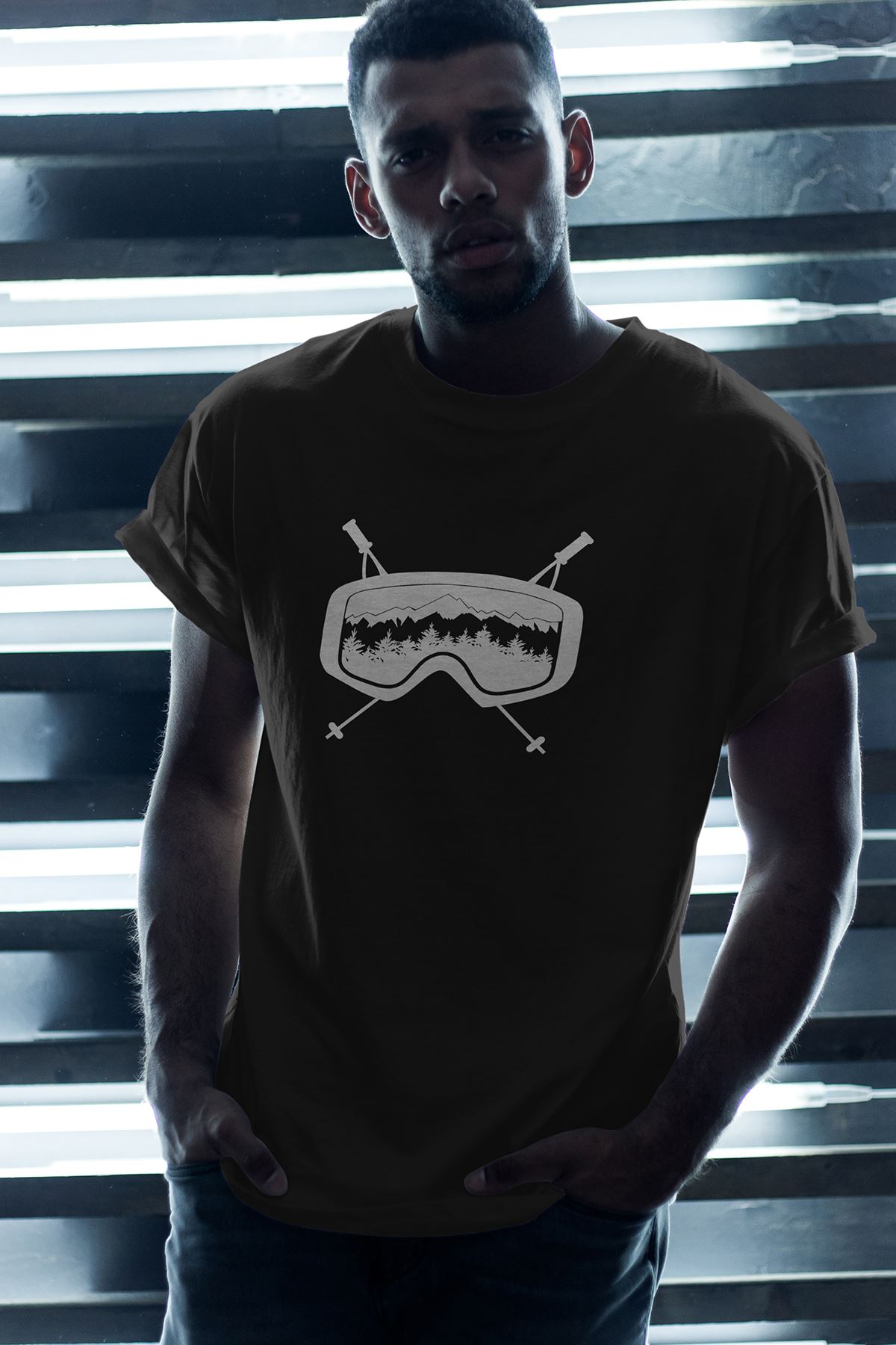 Glasses Siyah Erkek Oversize Tshirt - Tişört
