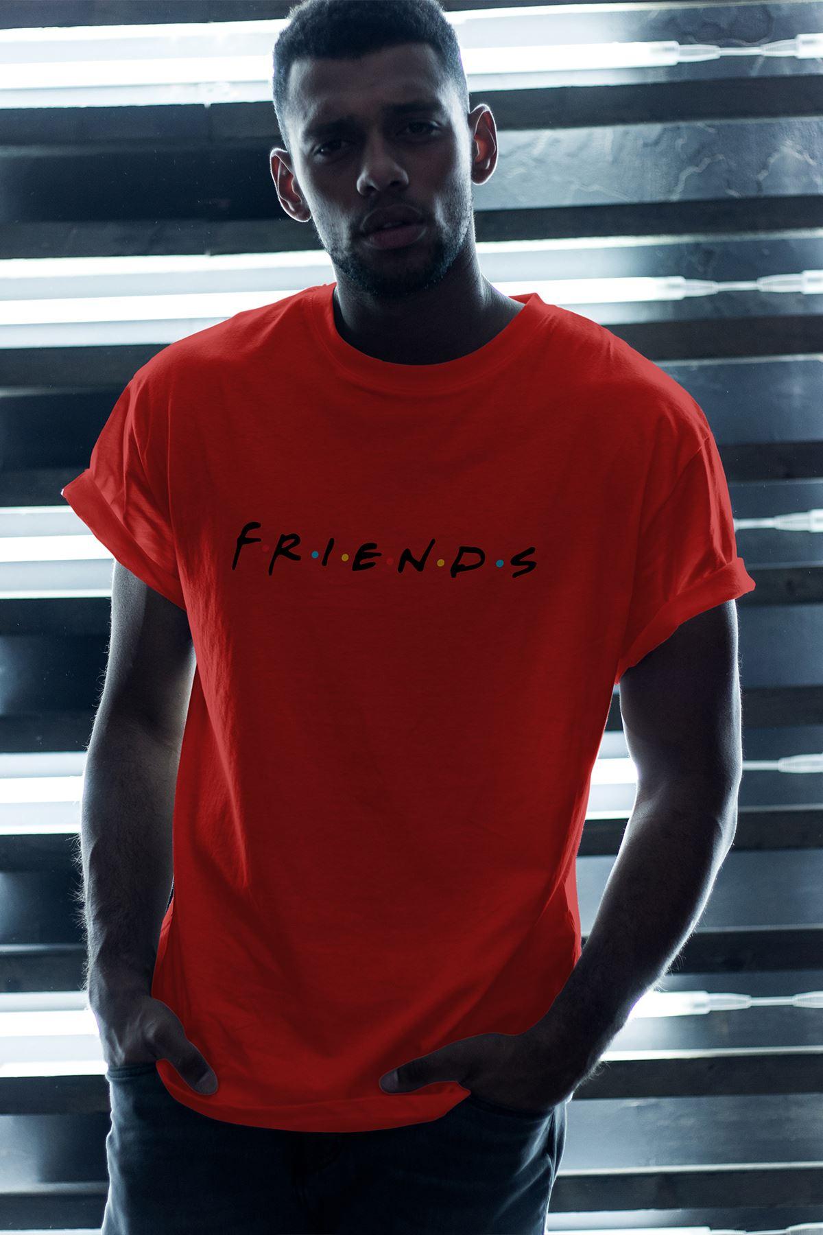 Friends 01 Kırmızı Erkek Oversize Tshirt - Tişört