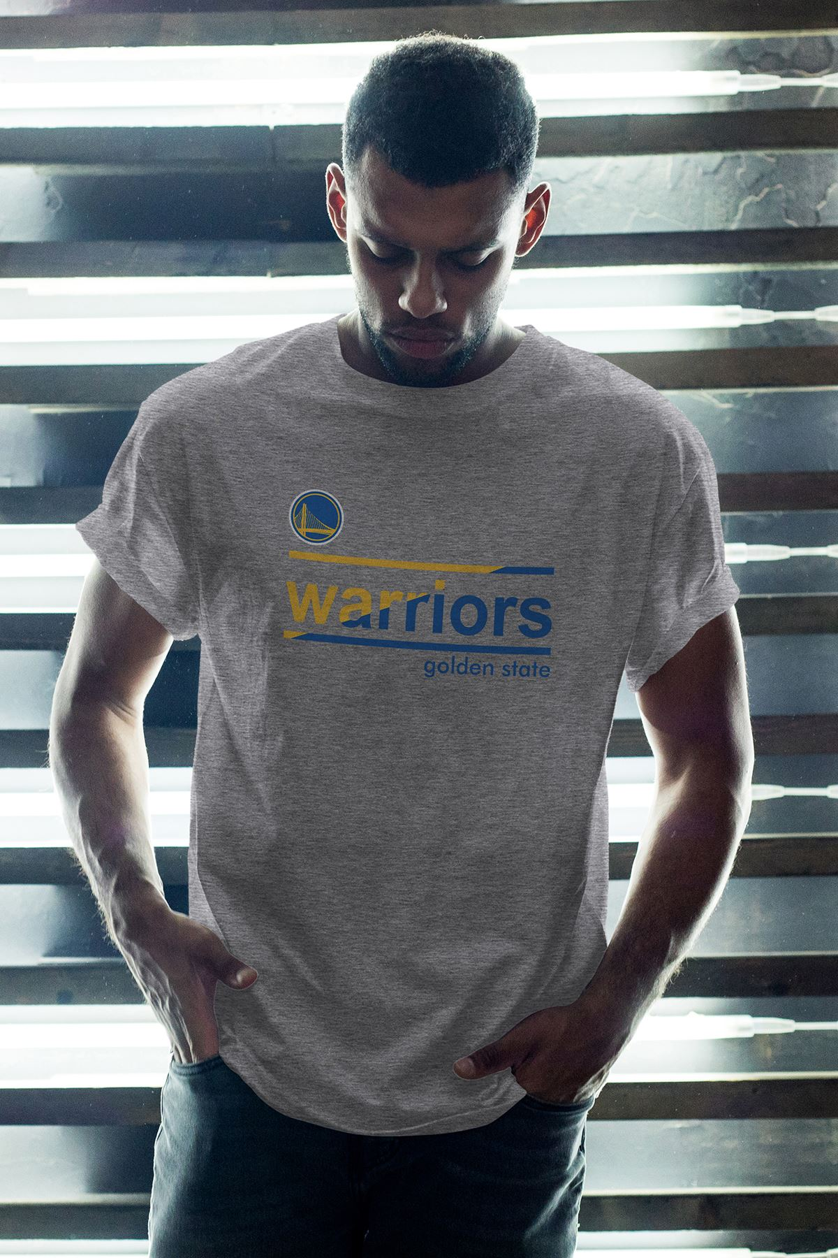 Golden State Warriors 55 Gri Erkek Oversize Tshirt - Tişört