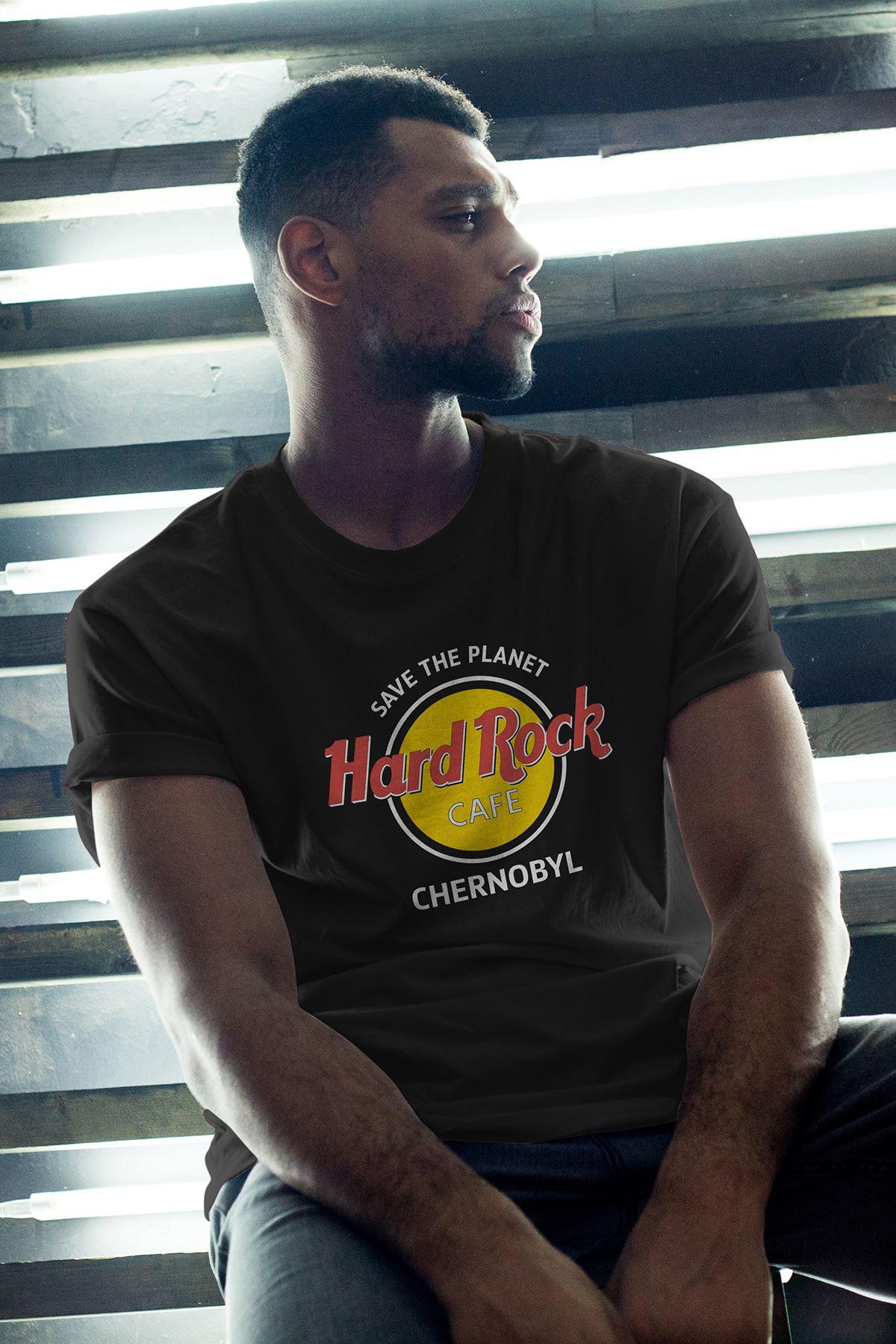Hard Rock Siyah Erkek Oversize Tshirt - Tişört