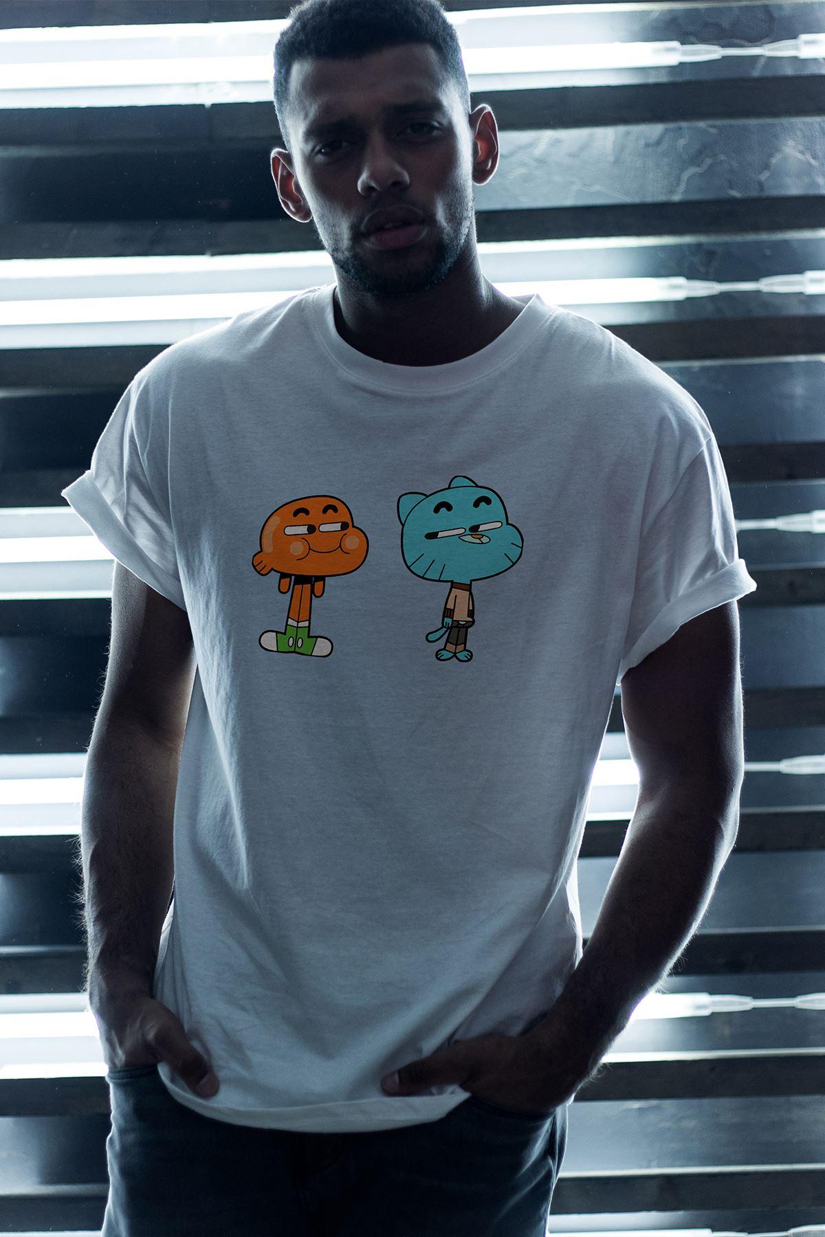 Gumball ve Darwin 02 Beyaz Erkek Oversize Tshirt - Tişört