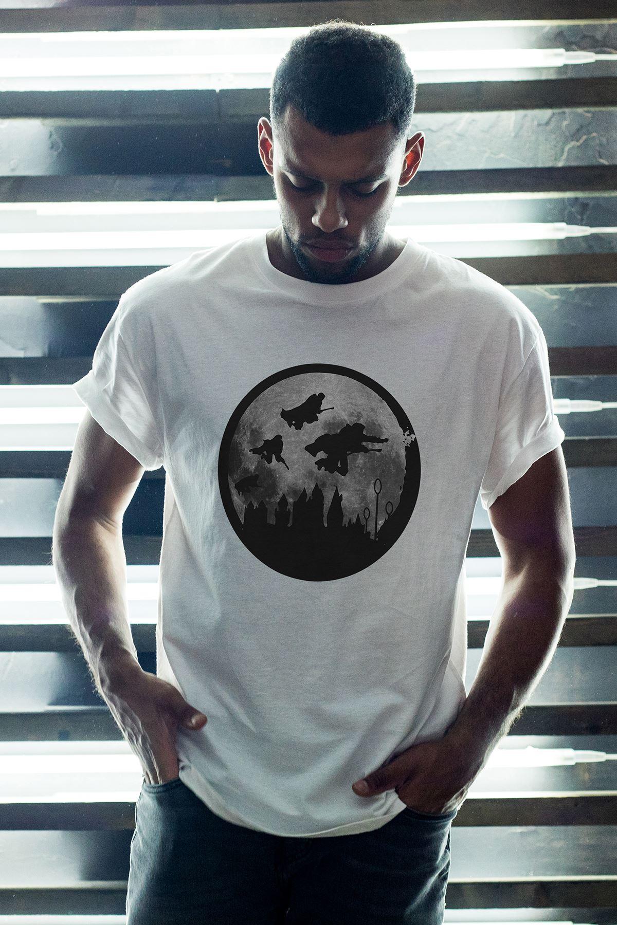 Harry Potter 59 Beyaz Erkek Oversize Tshirt - Tişört