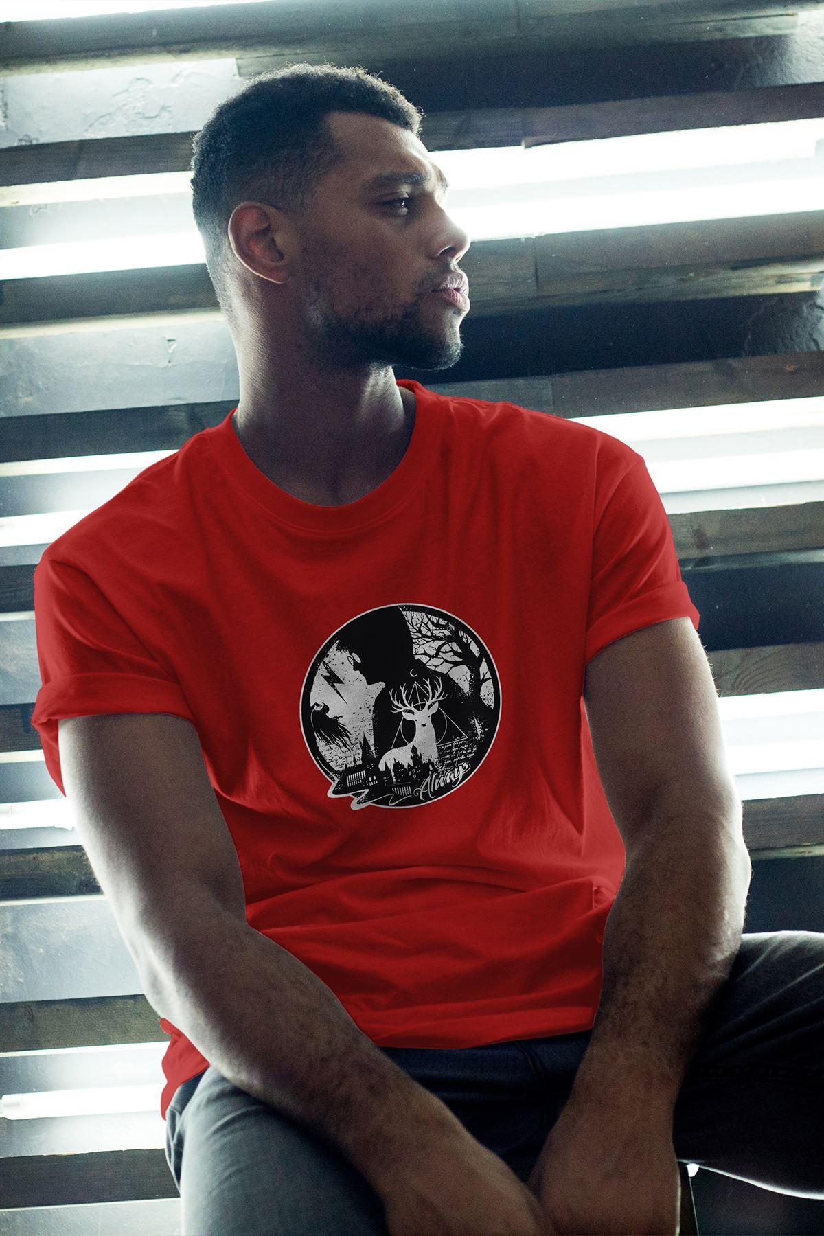Harry Potter 60 Kırmızı Erkek Oversize Tshirt - Tişört