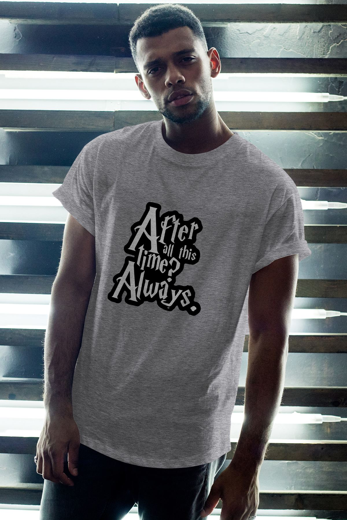 Harry Potter Always Gri Erkek Oversize Tshirt - Tişört