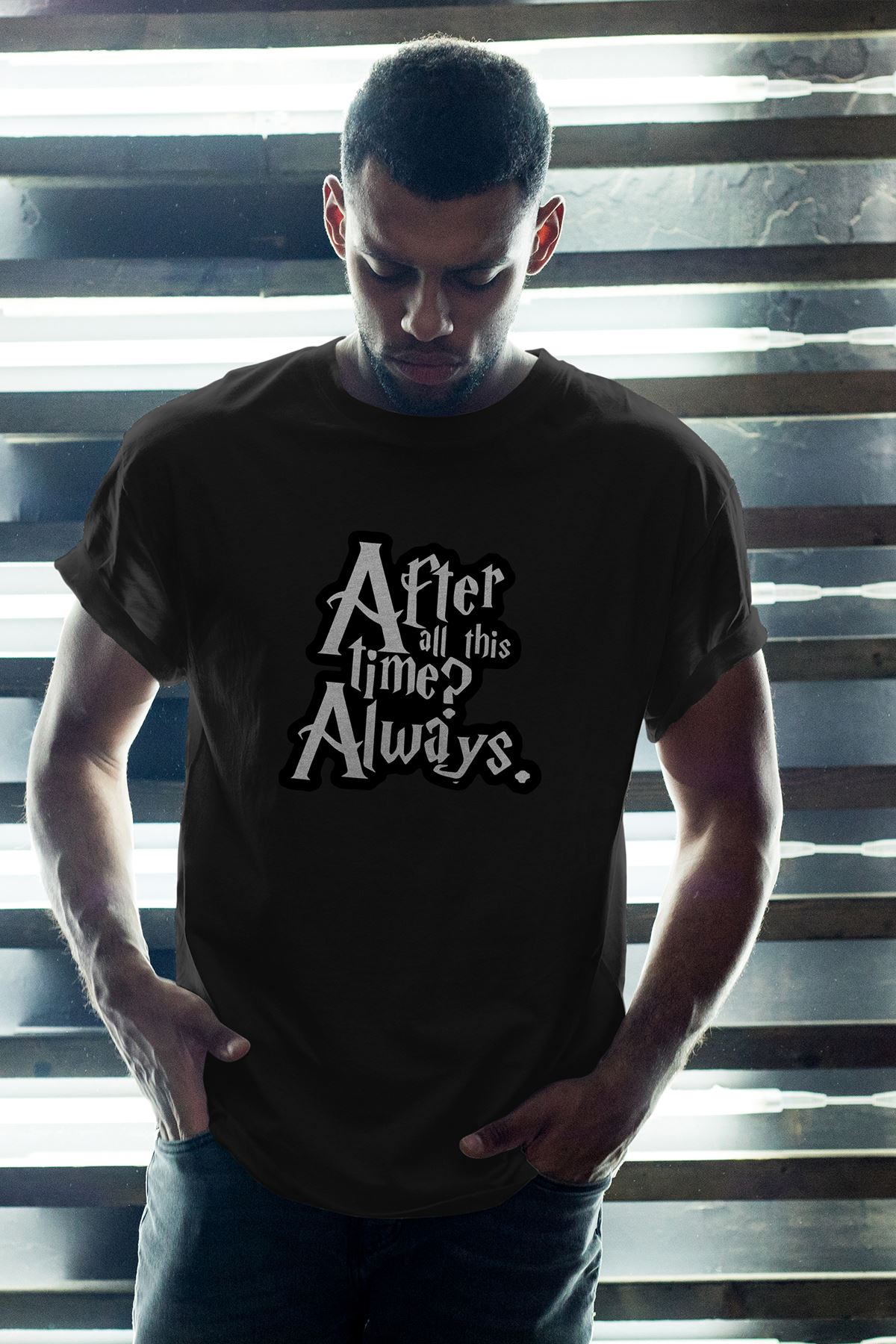 Harry Potter Always Siyah Erkek Oversize Tshirt - Tişört
