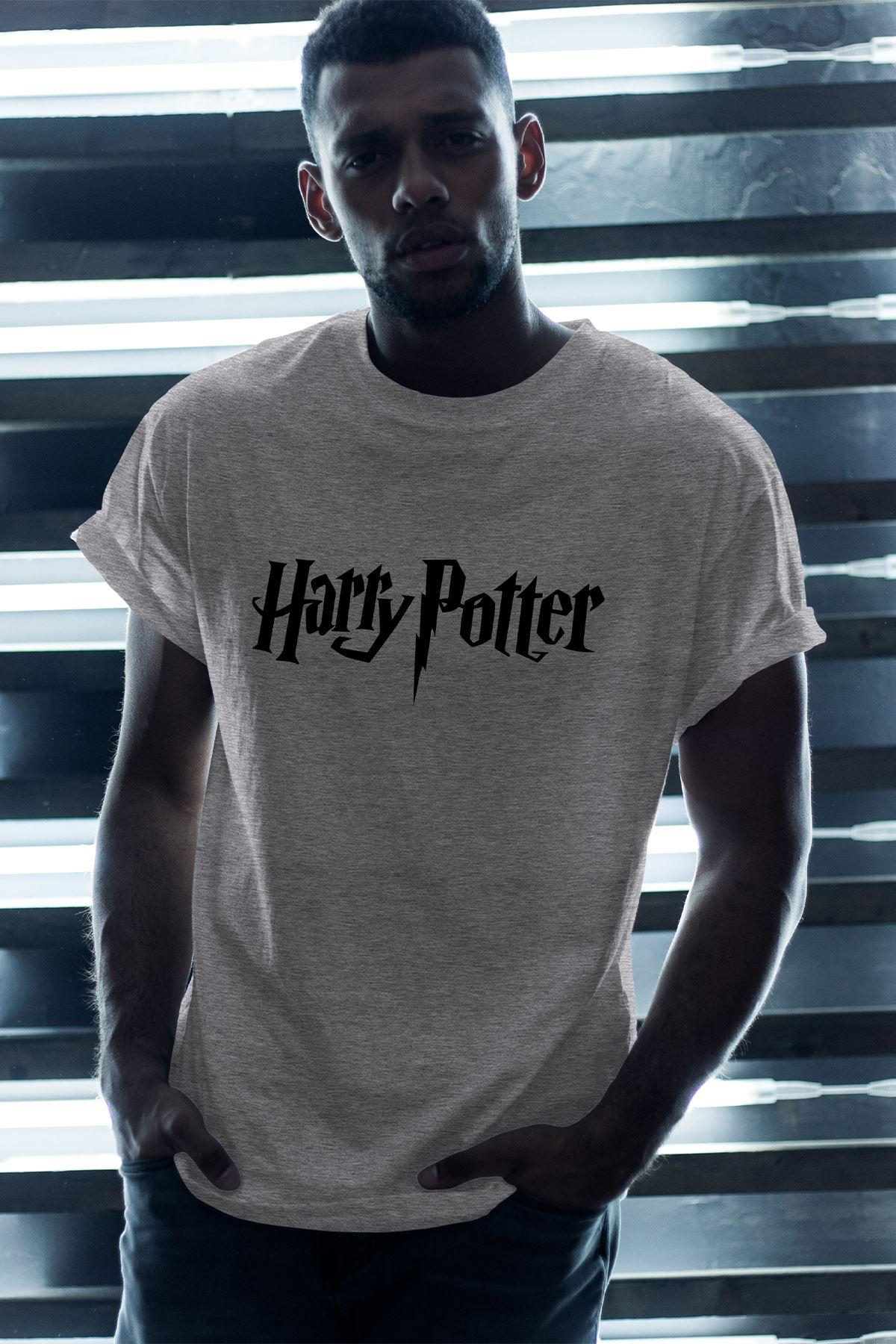 Harry Potter Gri Erkek Oversize Tshirt - Tişört