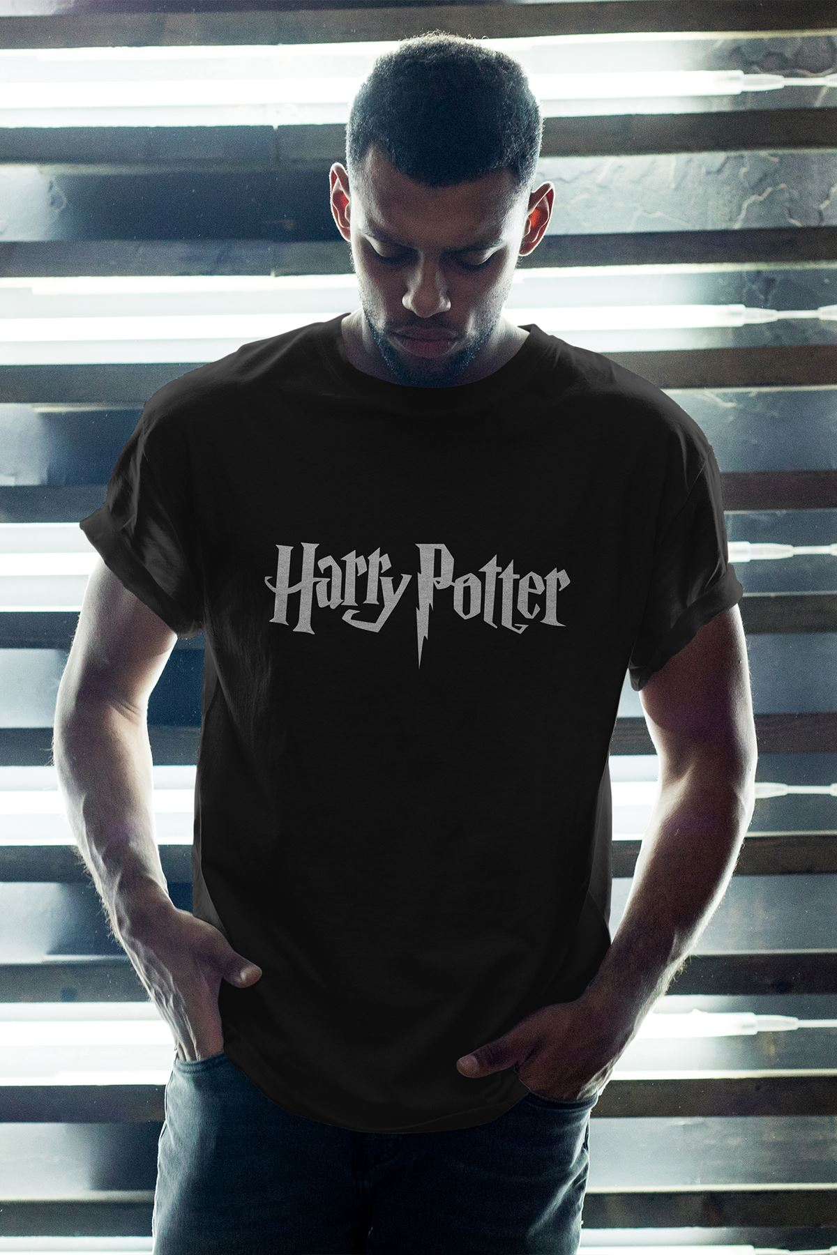 Harry Potter Siyah Erkek Oversize Tshirt - Tişört