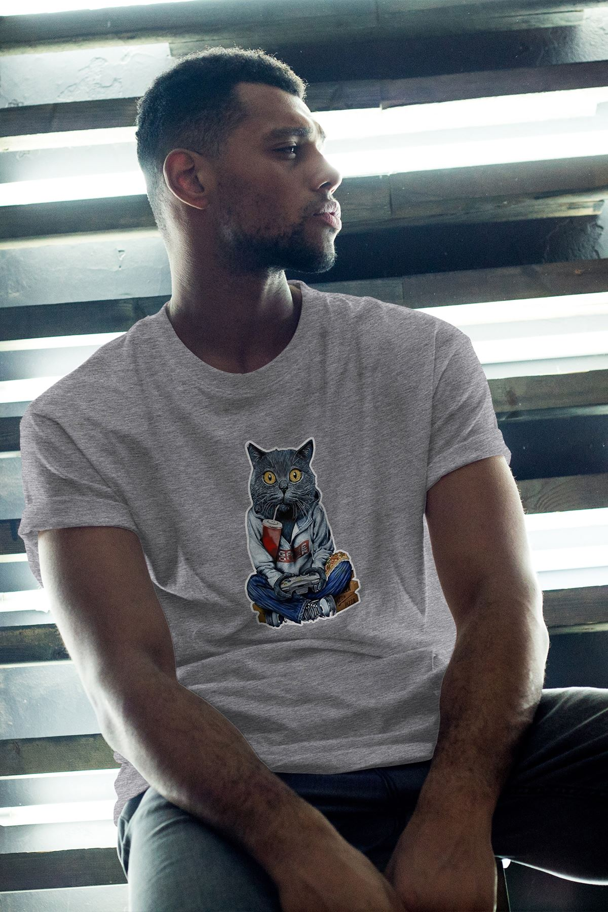 Kedi Gri Erkek Oversize Tshirt - Tişört