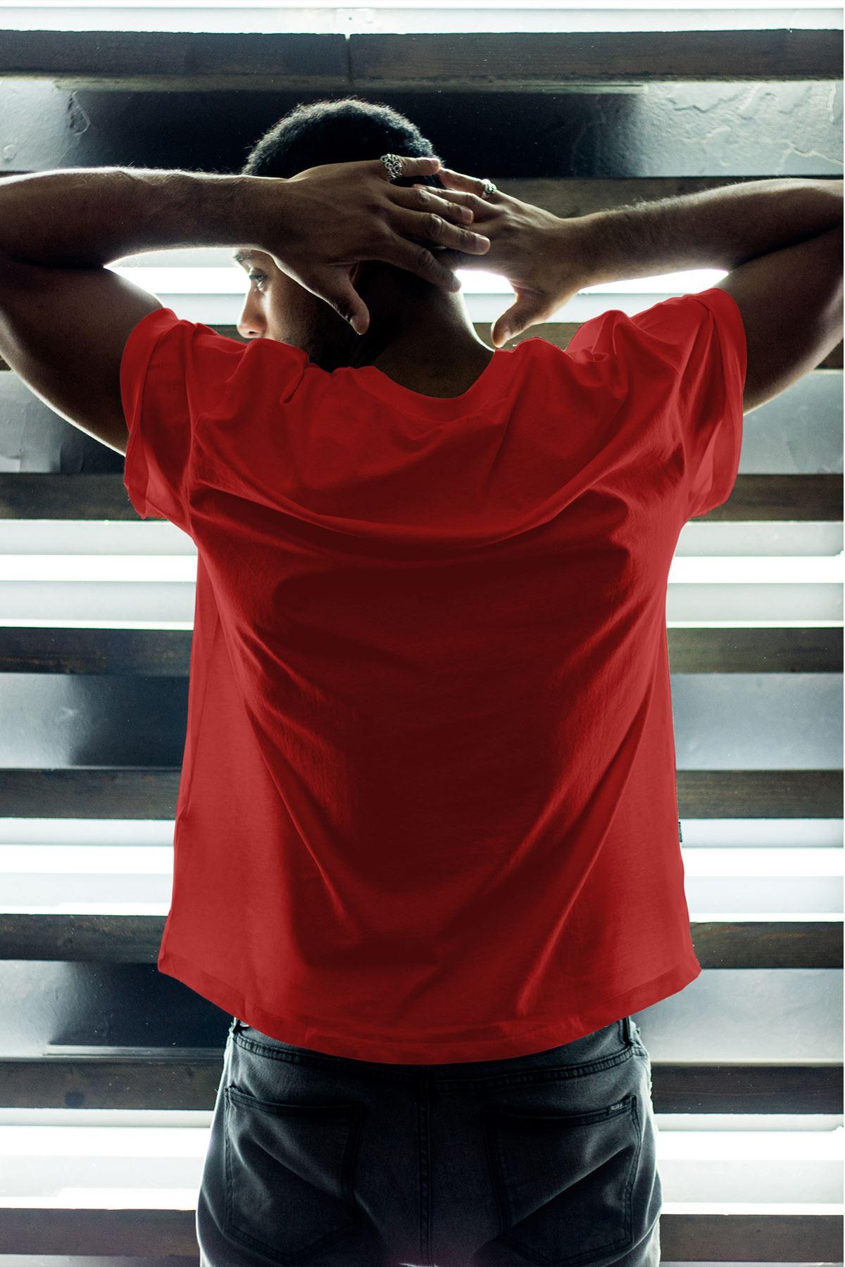 Kedi Kırmızı Erkek Oversize Tshirt - Tişört