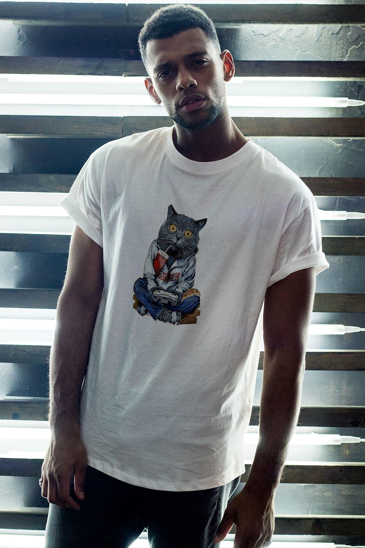 Kedi Beyaz Erkek Oversize Tshirt - Tişört
