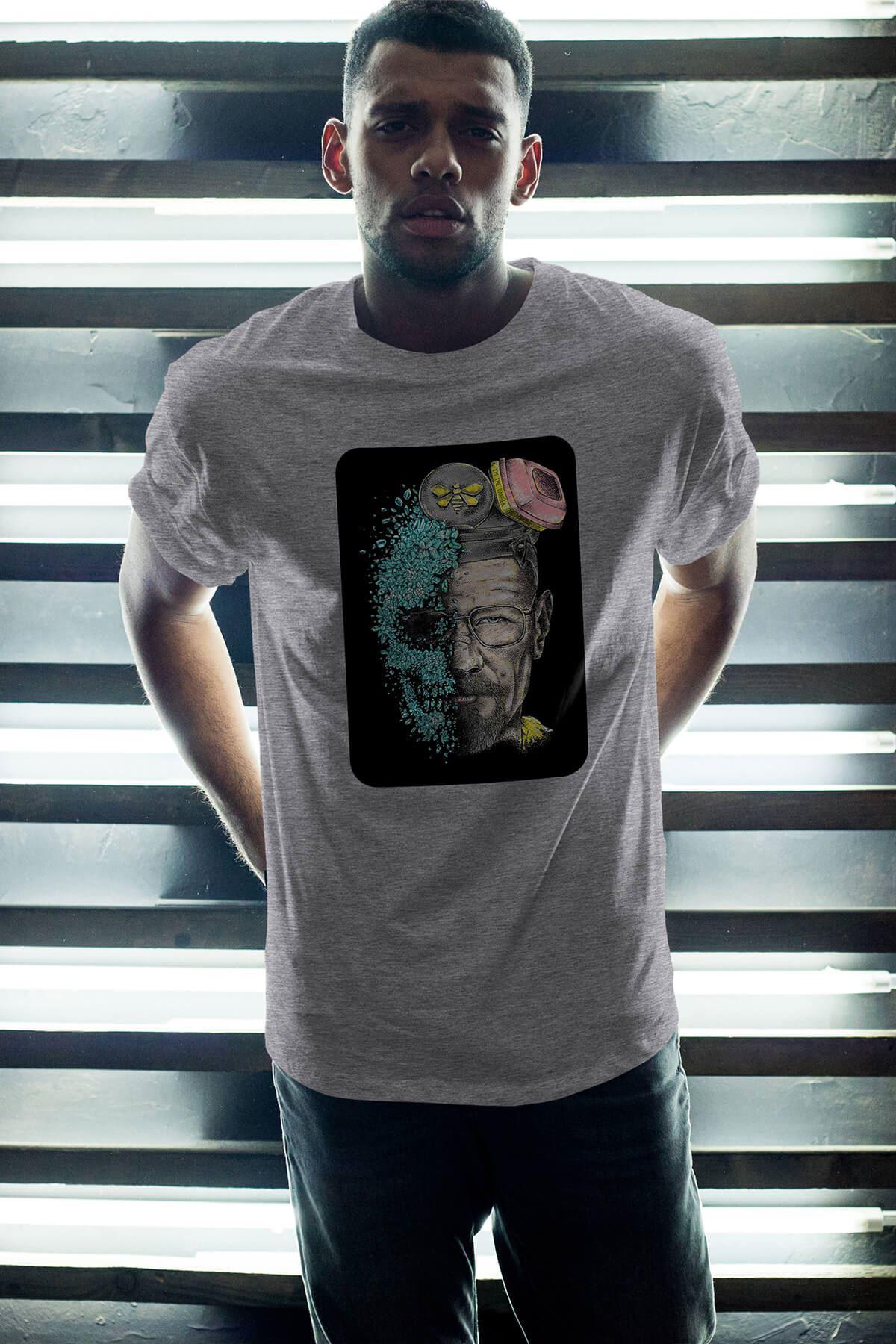 Breaking Bad Walter White 18 Gri Erkek Oversize Tshirt - Tişört