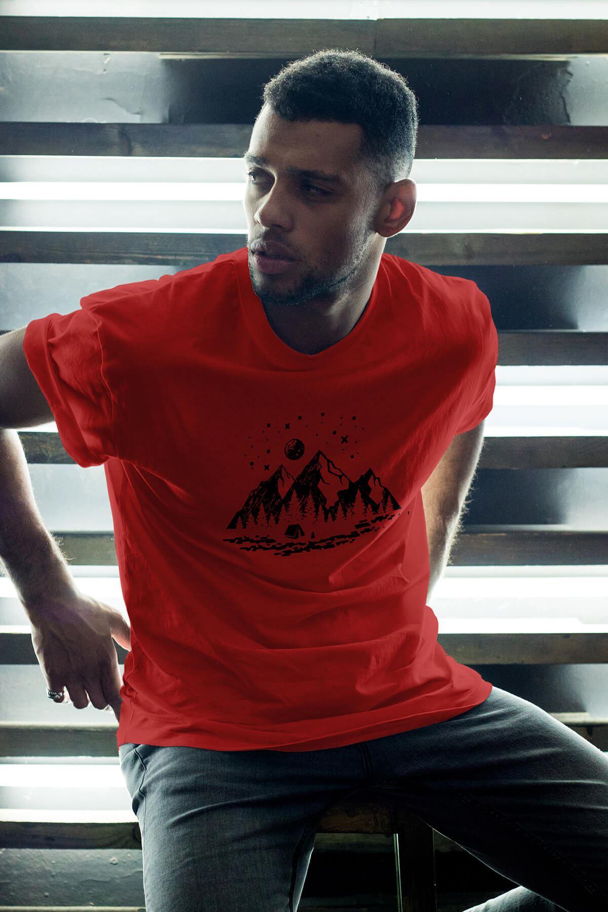 Camping Kırmızı Erkek Oversize Tshirt - Tişört