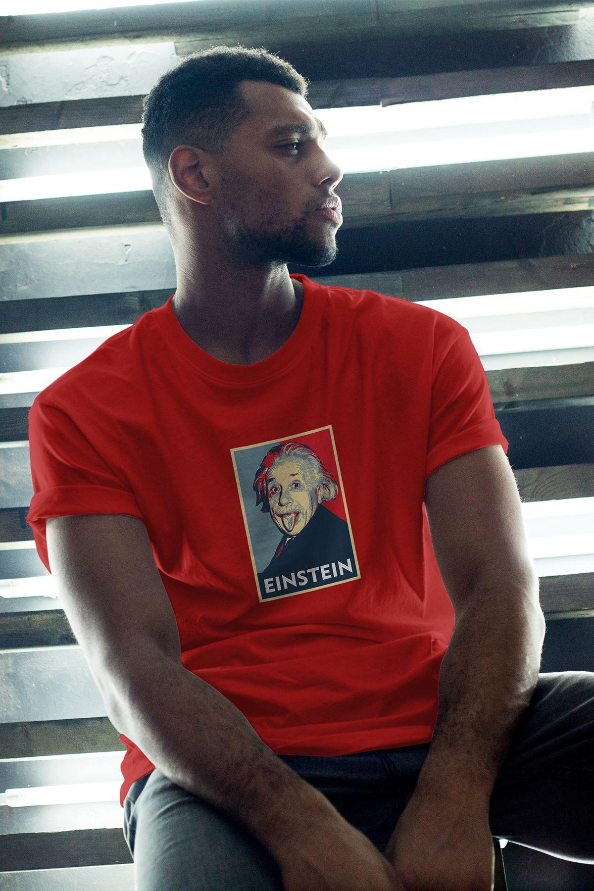 Albert Einstein 46 Kırmızı Erkek Oversize Tshirt - Tişört