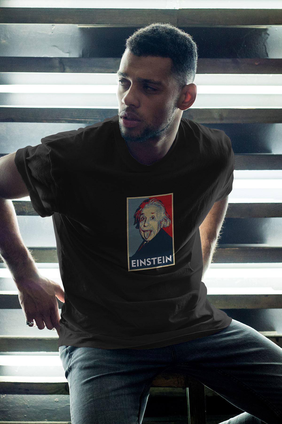 Albert Einstein 46 Siyah Erkek Oversize Tshirt - Tişört